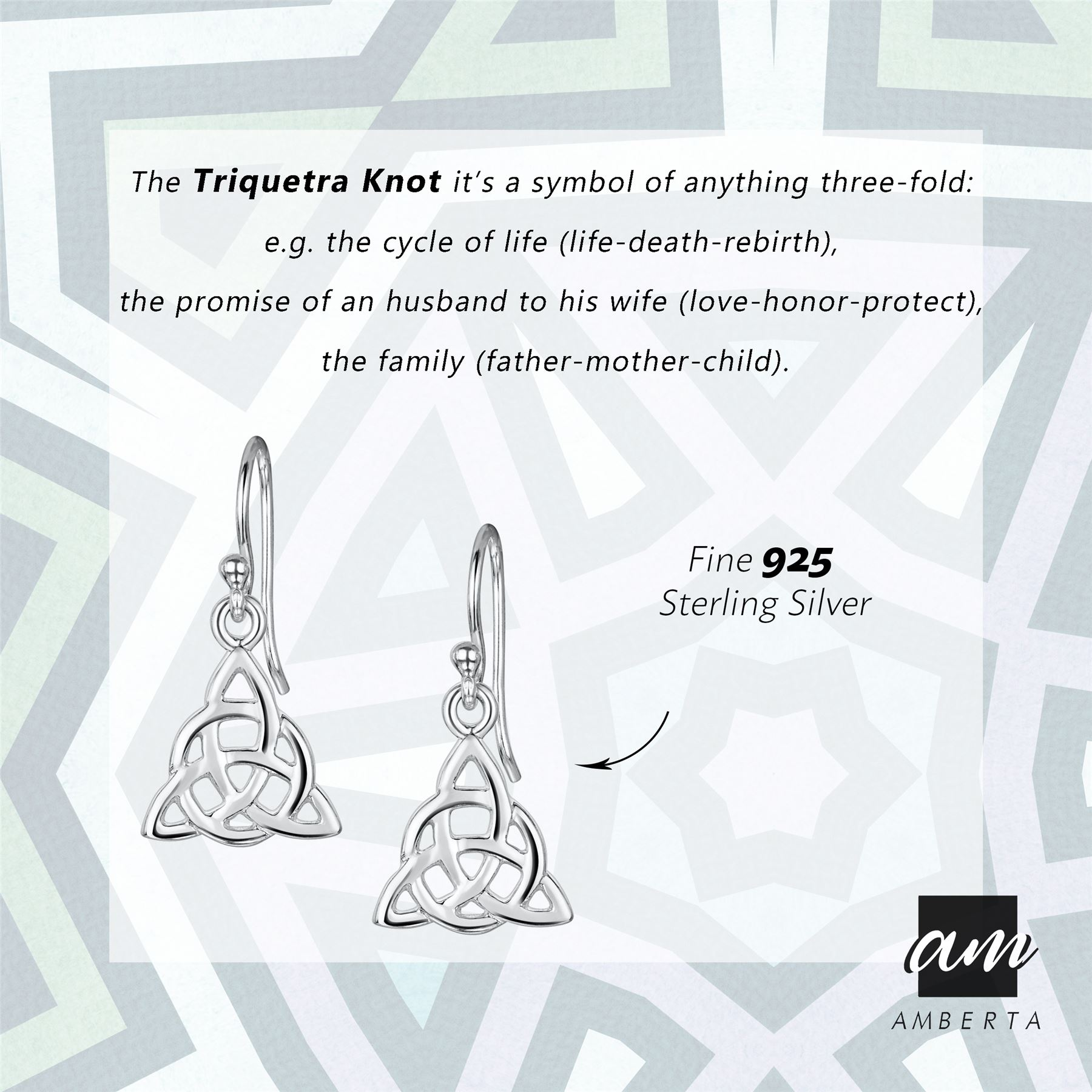 Amberta-925-Sterling-Silver-Celtic-Knot-Earrings-for-Women-Irish-Design miniature 16