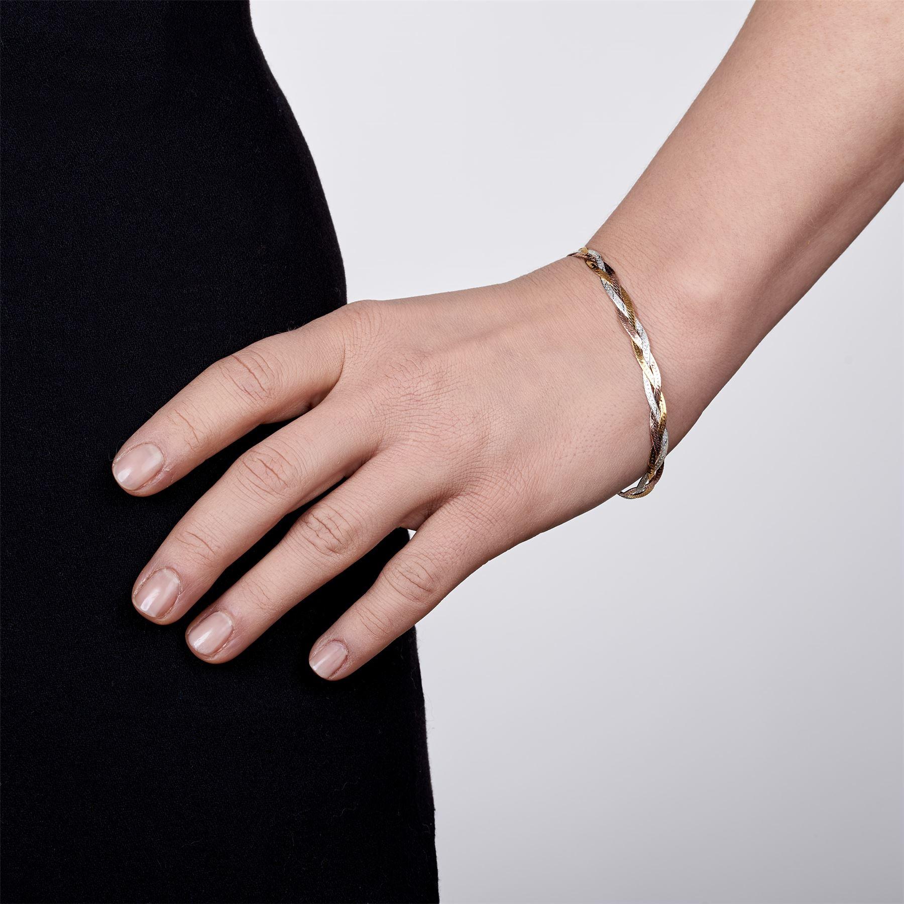 Amberta-Bijoux-Bracelet-en-Vrai-Argent-Sterling-925-Chaine-pour-Femme-a-la-Mode thumbnail 103