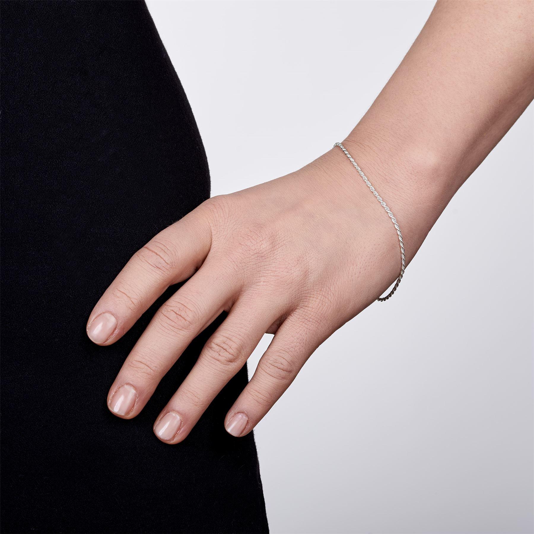 Amberta-Bijoux-Bracelet-en-Vrai-Argent-Sterling-925-Chaine-pour-Femme-a-la-Mode thumbnail 30