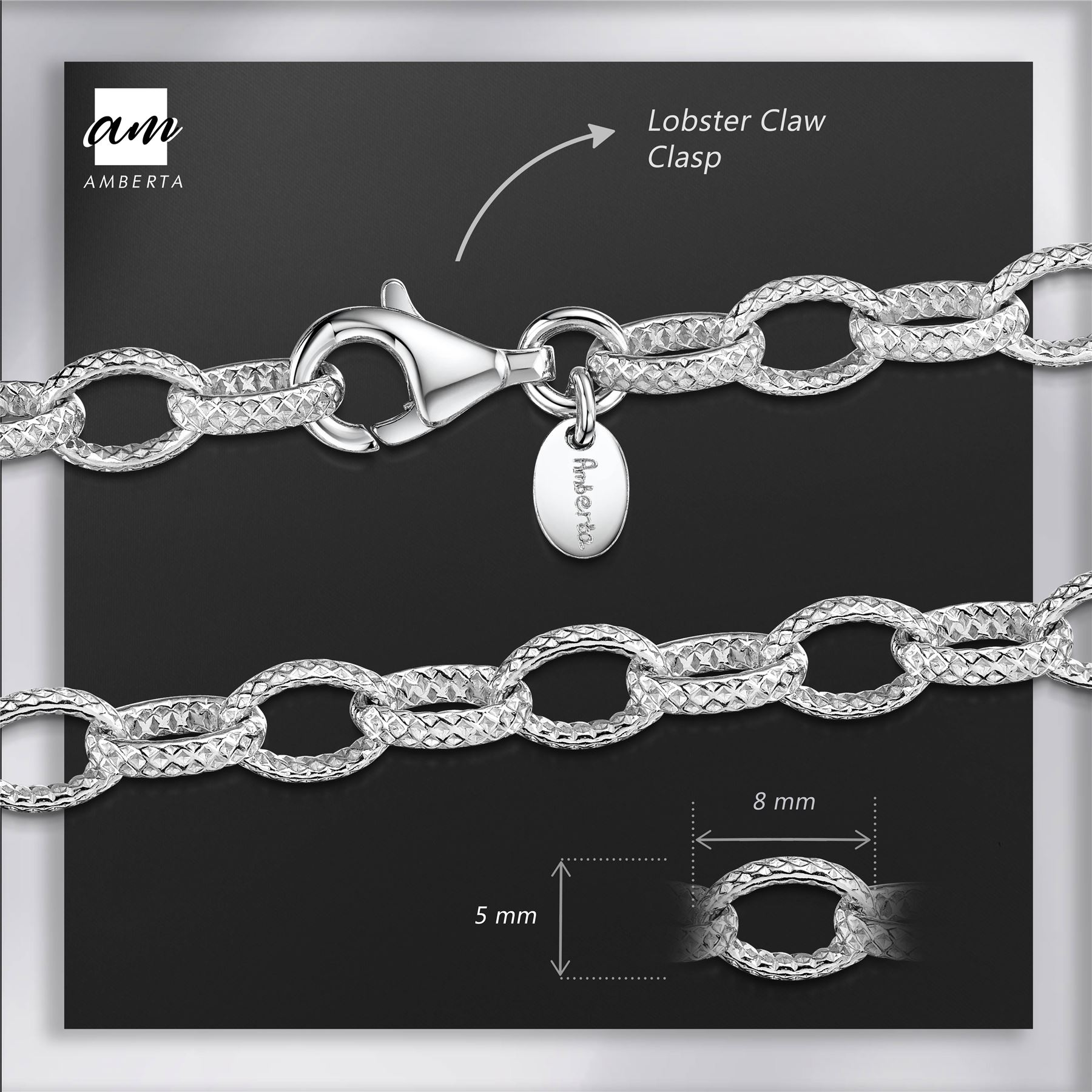 Amberta-Genuine-Real-925-Sterling-Silver-Chain-Bracelet-for-Women-from-Italy miniature 29