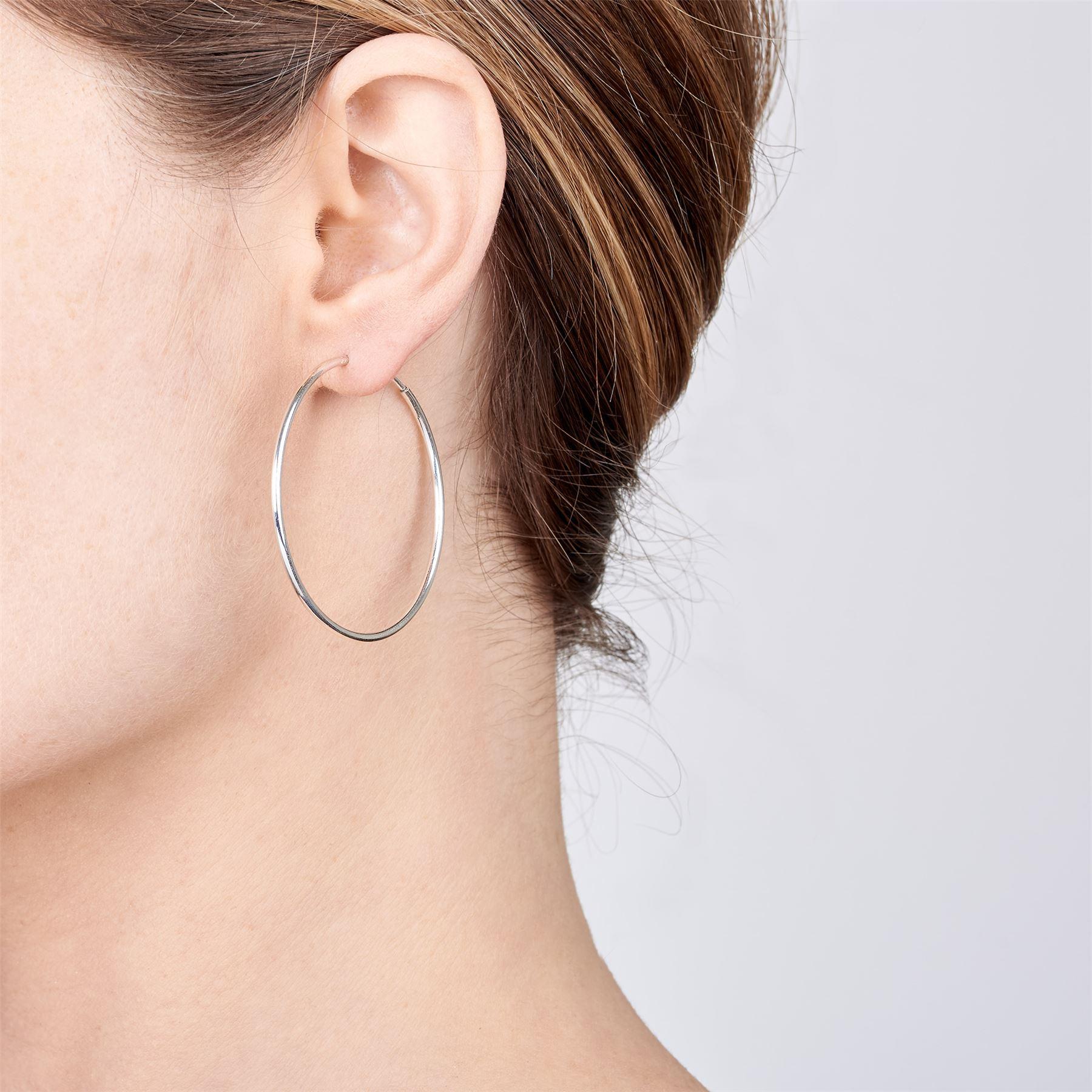 Amberta-Pendientes-para-Mujer-Aros-en-Plata-De-Ley-925-Autentica-Estilo-Clasico miniatura 36