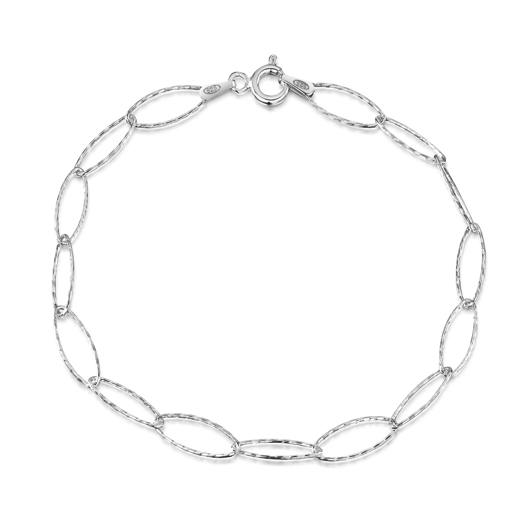 Amberta-Jewelry-Genuine-925-Sterling-Silver-Bracelet-Bangle-Chain-Made-in-Italy thumbnail 107