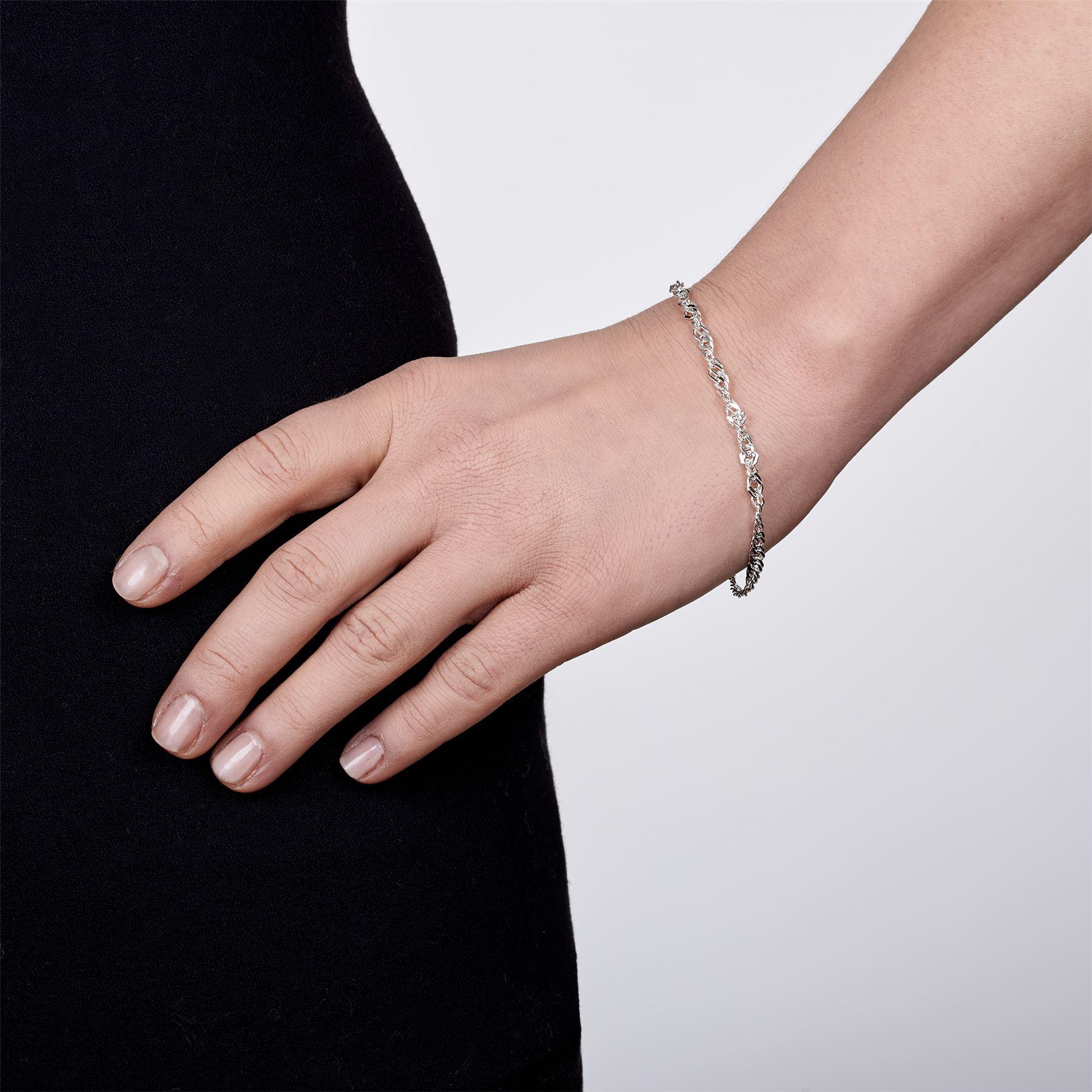 Amberta-Bijoux-Bracelet-en-Vrai-Argent-Sterling-925-Chaine-pour-Femme-a-la-Mode thumbnail 88