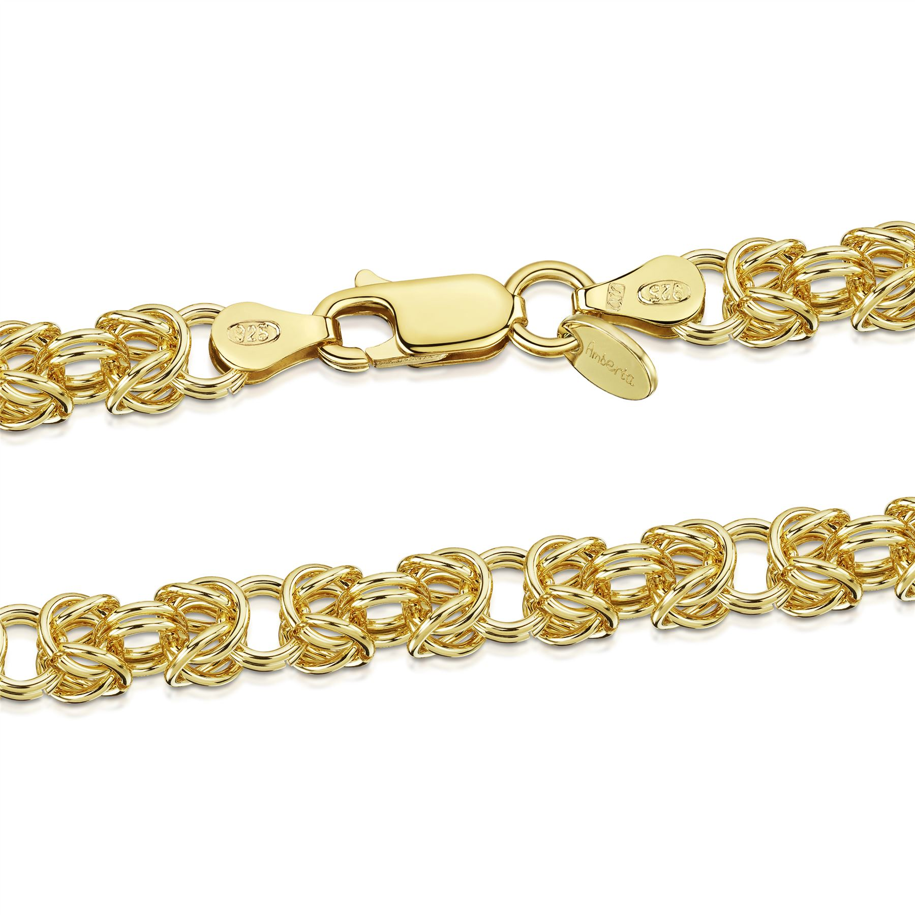Amberta-Genuine-Real-925-Sterling-Silver-Chain-Bracelet-for-Women-from-Italy miniature 11