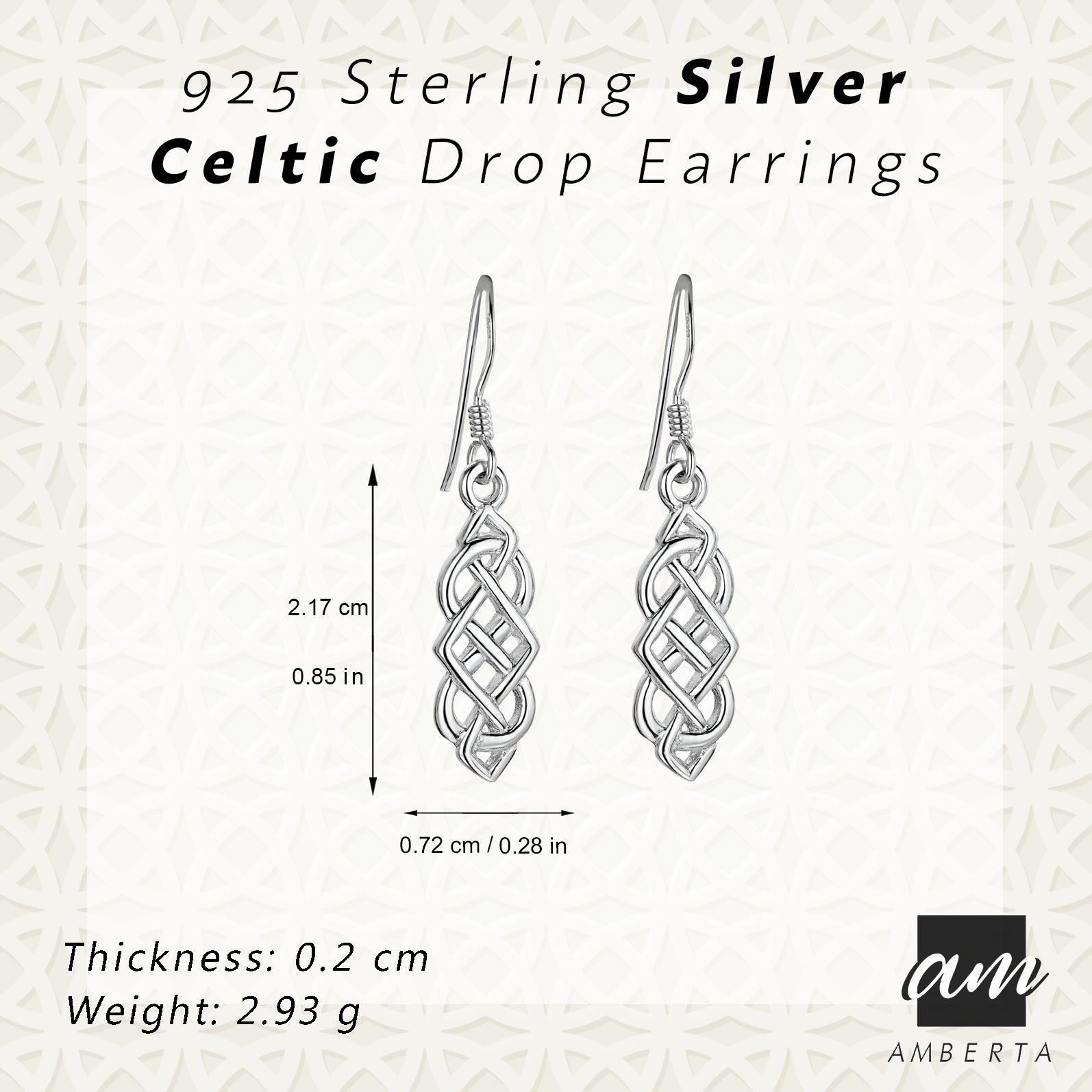 Amberta-925-Sterling-Silver-Celtic-Knot-Earrings-for-Women-Irish-Design miniature 27