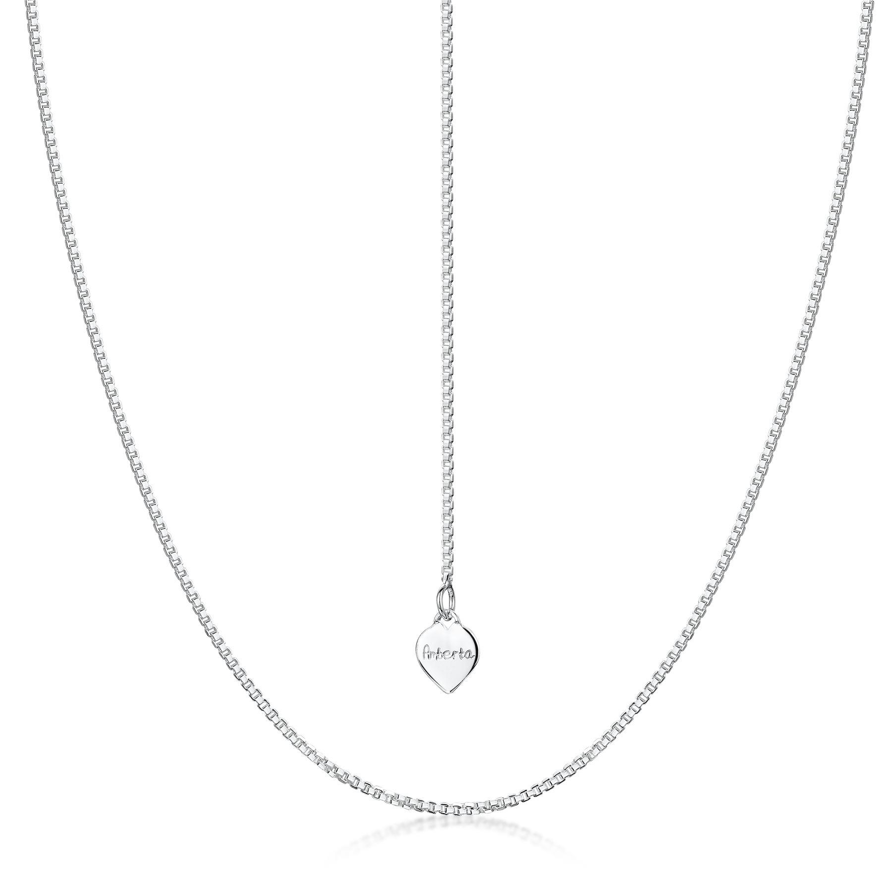 Amberta-Collar-en-Fina-Plata-de-Ley-925-Cadena-de-Corazon-Ajustable-para-Mujer miniatura 8