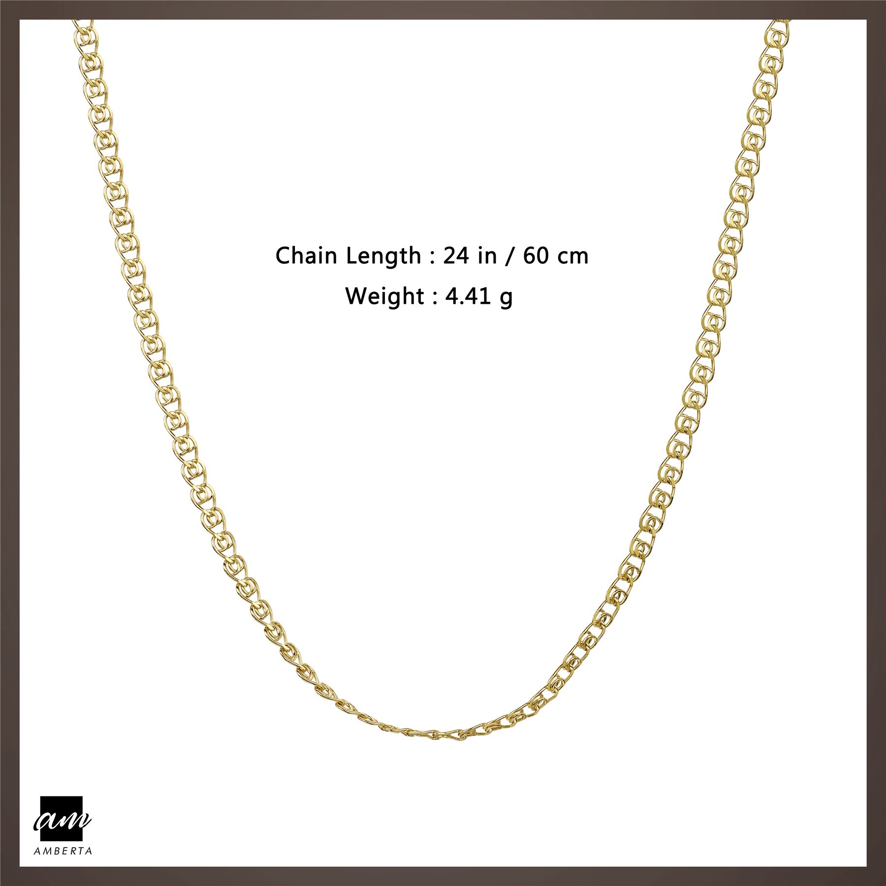 Amberta-Genuine-Gold-Plated-on-Real-925-Sterling-Silver-Necklace-Chain-Italy 縮圖 60