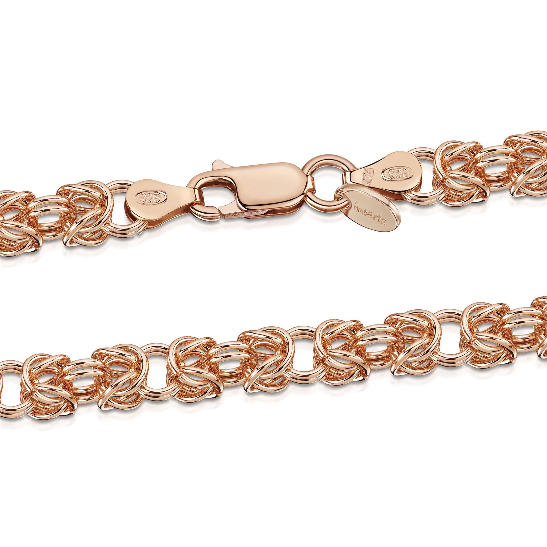 Amberta-Genuine-Real-925-Sterling-Silver-Chain-Bracelet-for-Women-from-Italy miniature 16