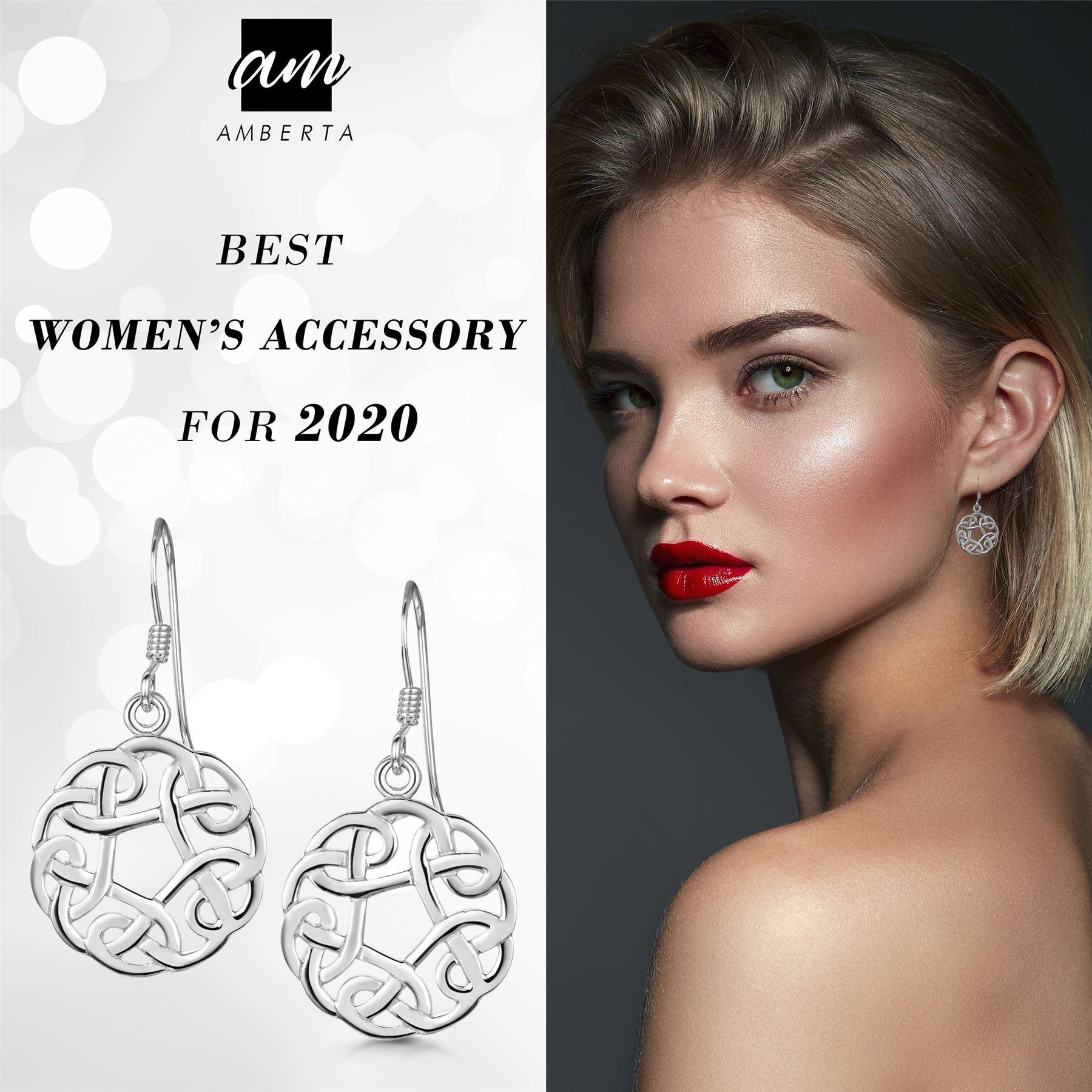 Amberta-925-Sterling-Silver-Celtic-Knot-Earrings-for-Women-Irish-Design miniature 24