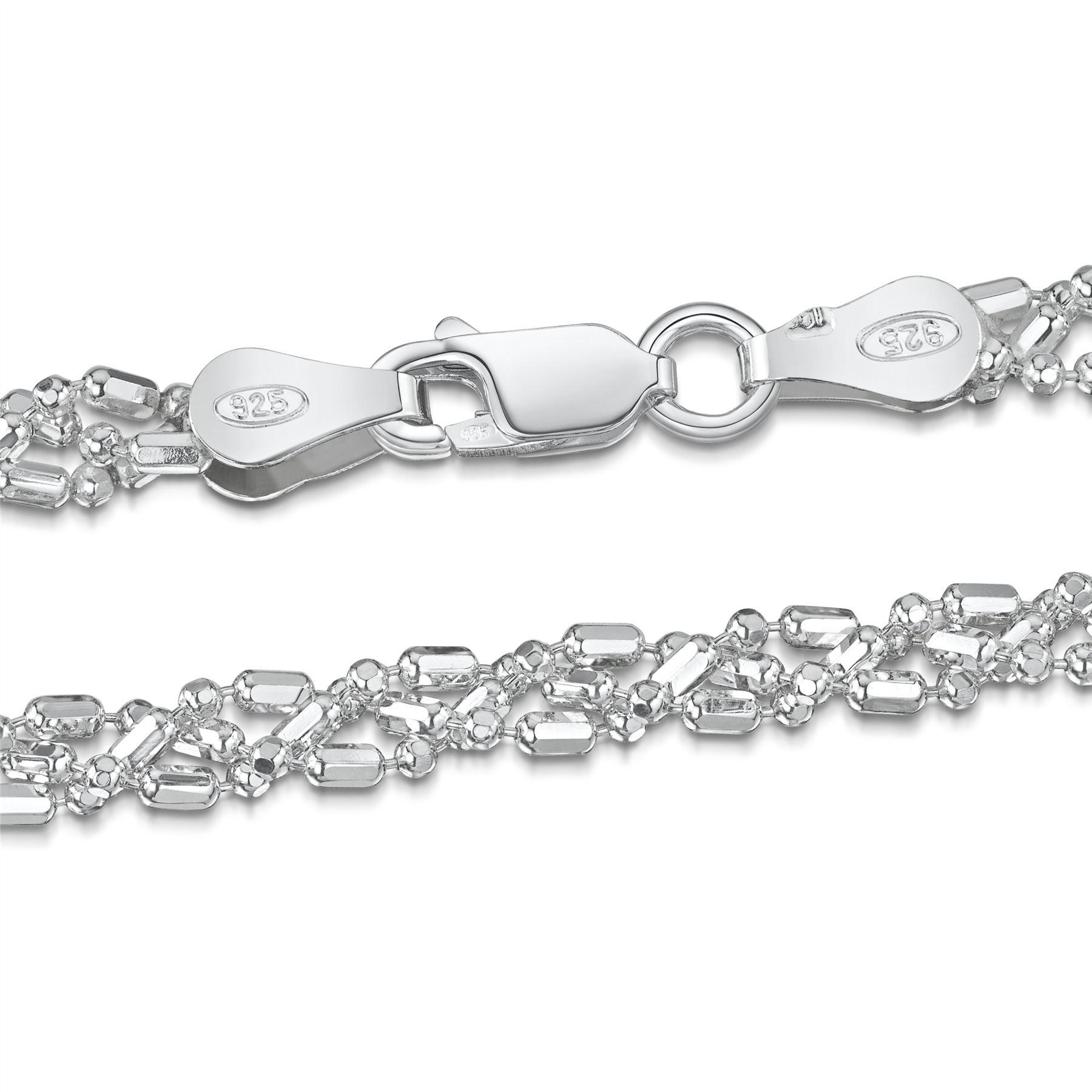Amberta-Bijoux-Bracelet-en-Vrai-Argent-Sterling-925-Chaine-pour-Femme-a-la-Mode thumbnail 84
