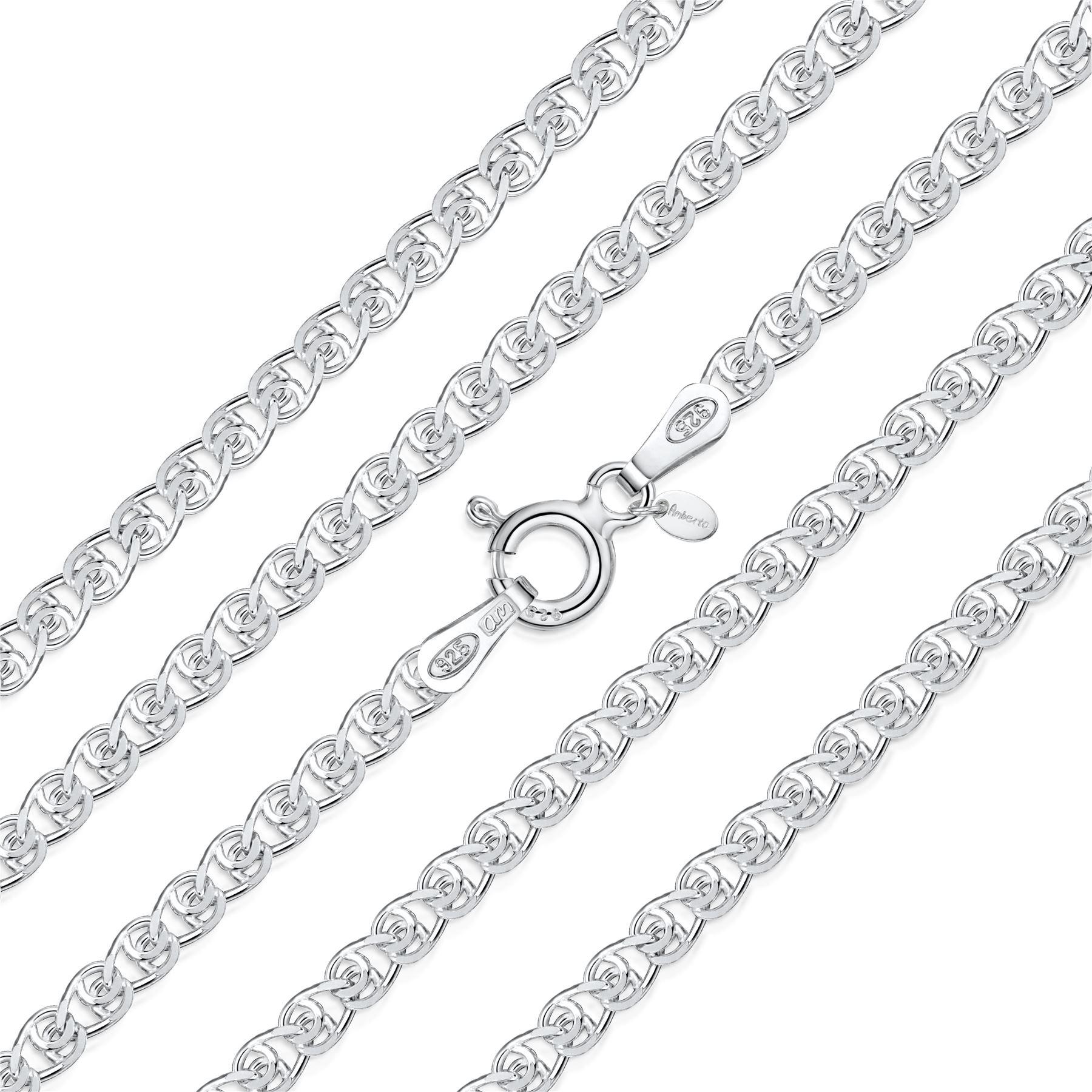 Amberta-Collar-en-Plata-De-Ley-925-Autentica-Cadena-para-Mujer-y-Hombre-Italiana miniatura 103
