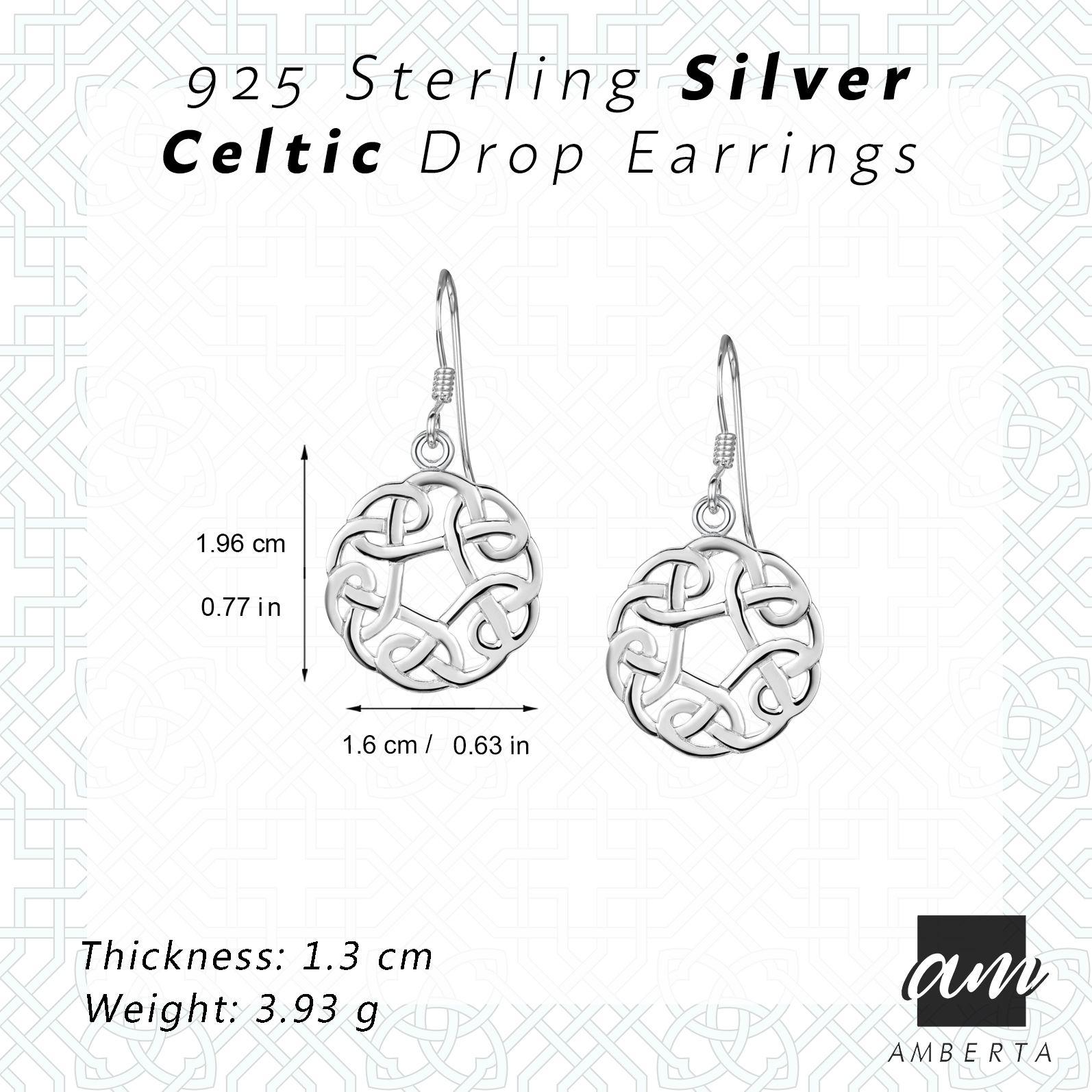 Amberta-925-Sterling-Silver-Celtic-Knot-Earrings-for-Women-Irish-Design miniature 21