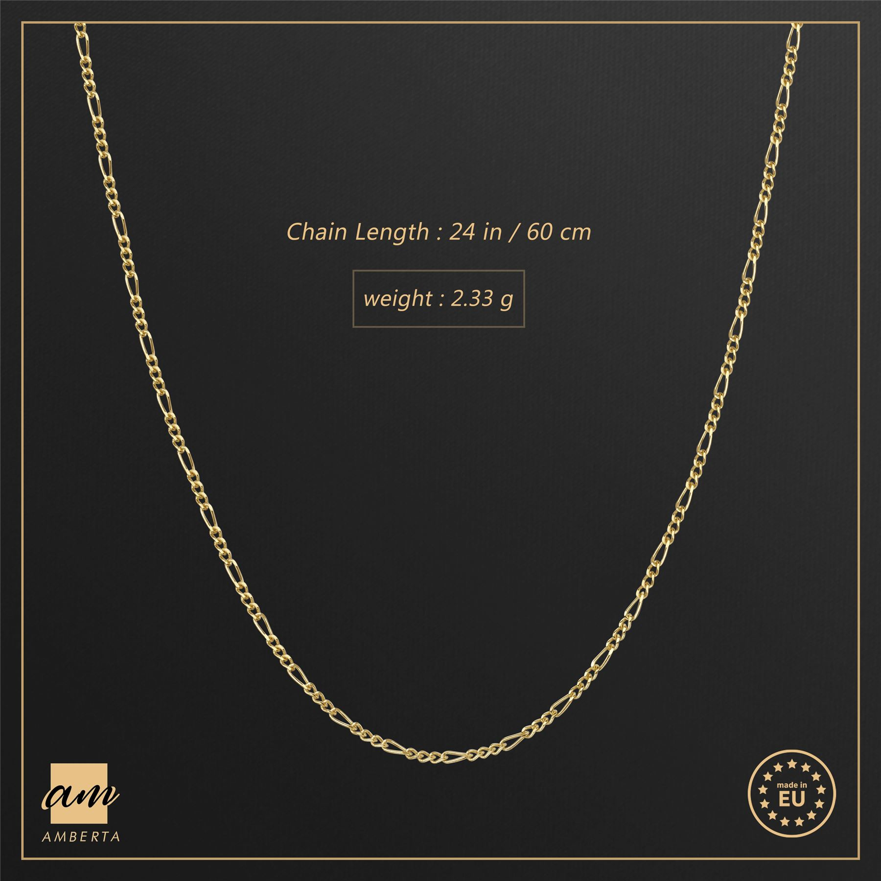Amberta-Genuine-Gold-Plated-on-Real-925-Sterling-Silver-Necklace-Chain-Italy 縮圖 34