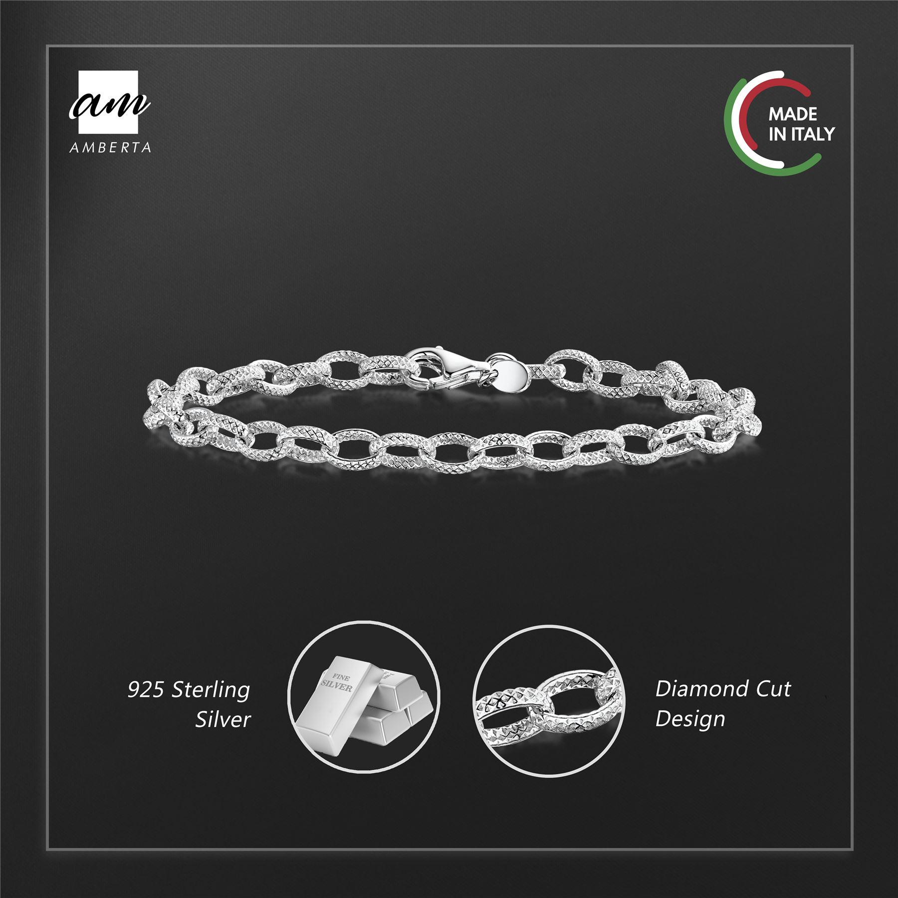 Amberta-Genuine-Real-925-Sterling-Silver-Chain-Bracelet-for-Women-from-Italy miniature 30