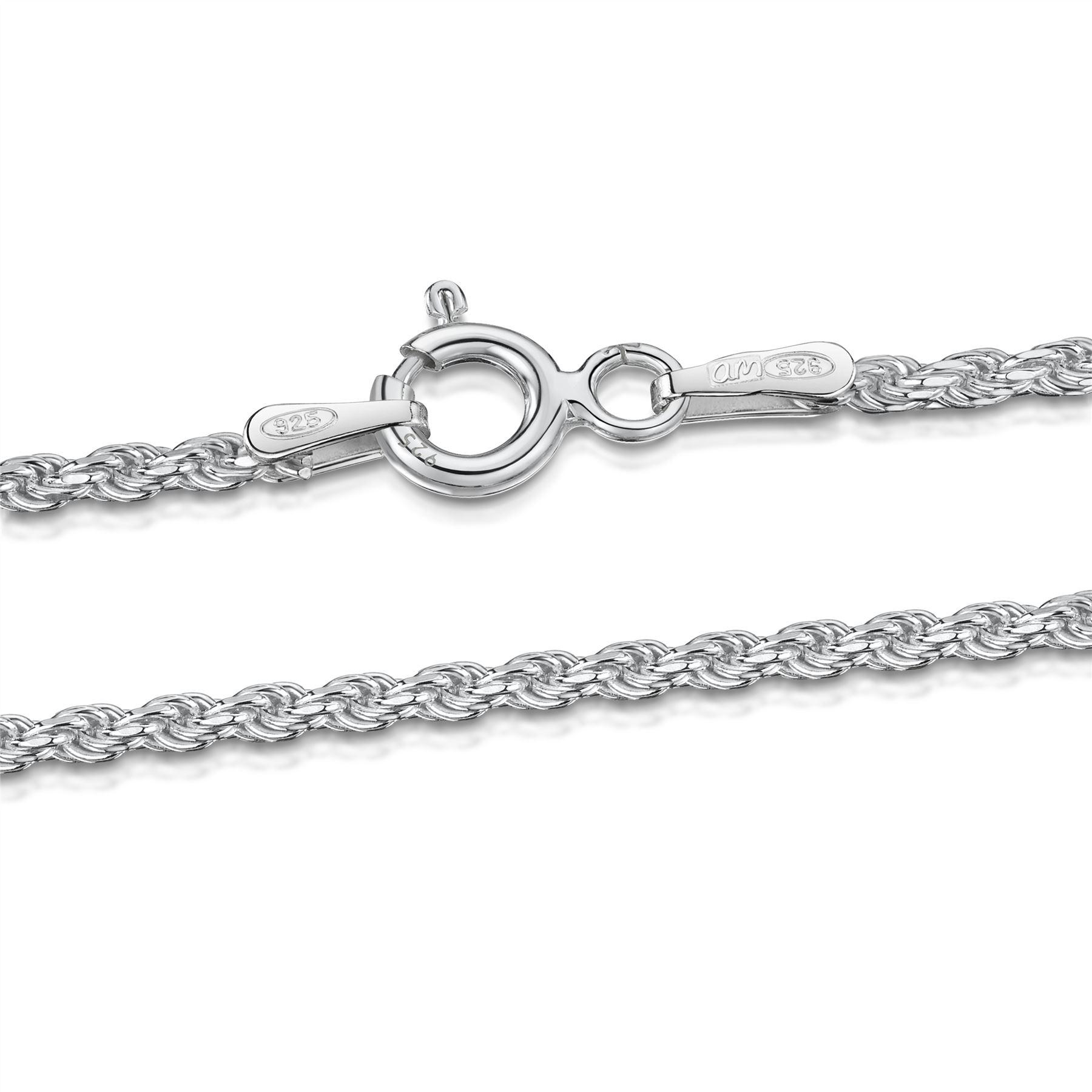Amberta-Bijoux-Bracelet-en-Vrai-Argent-Sterling-925-Chaine-pour-Femme-a-la-Mode thumbnail 28