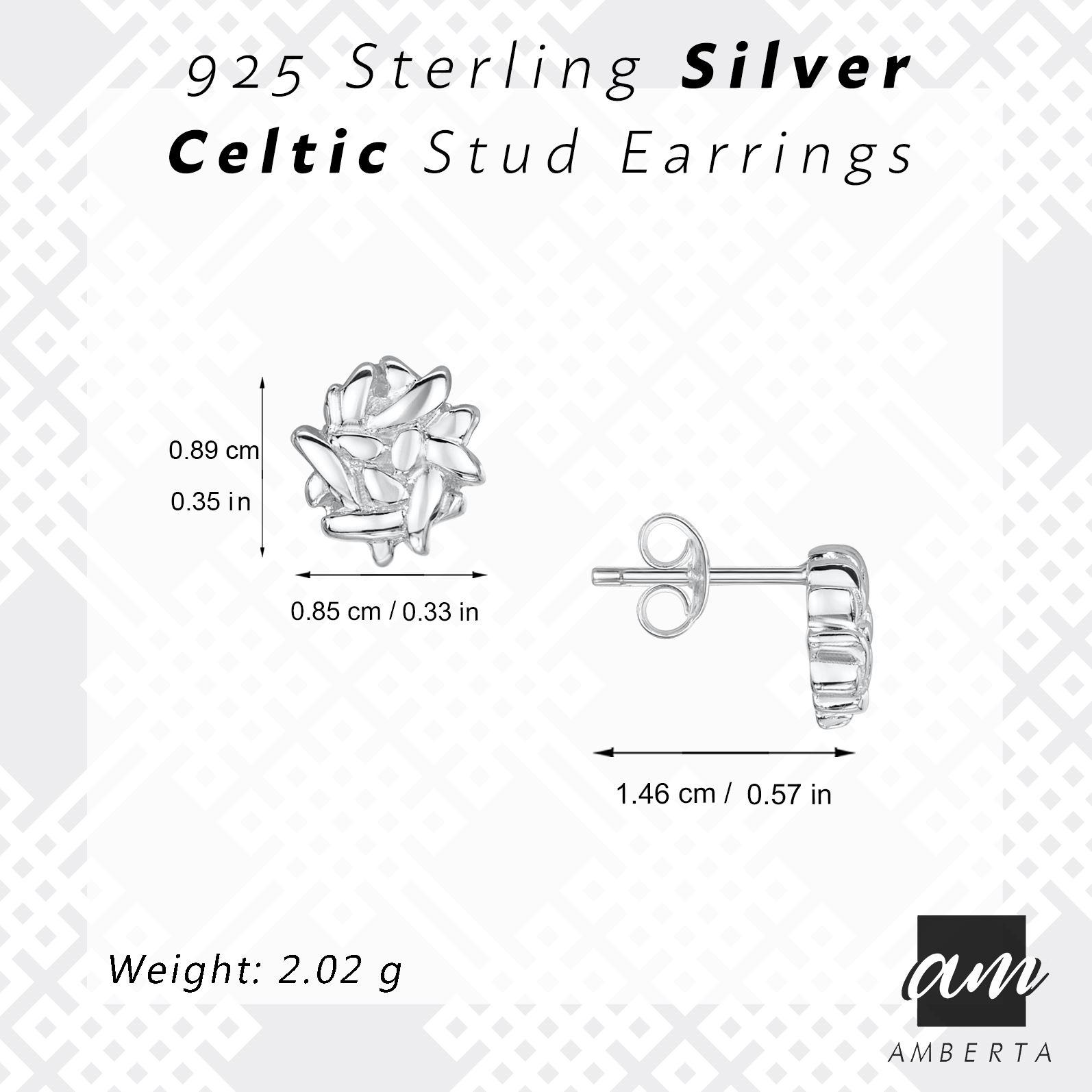 Amberta-925-Sterling-Silver-Celtic-Knot-Earrings-for-Women-Irish-Design miniature 9