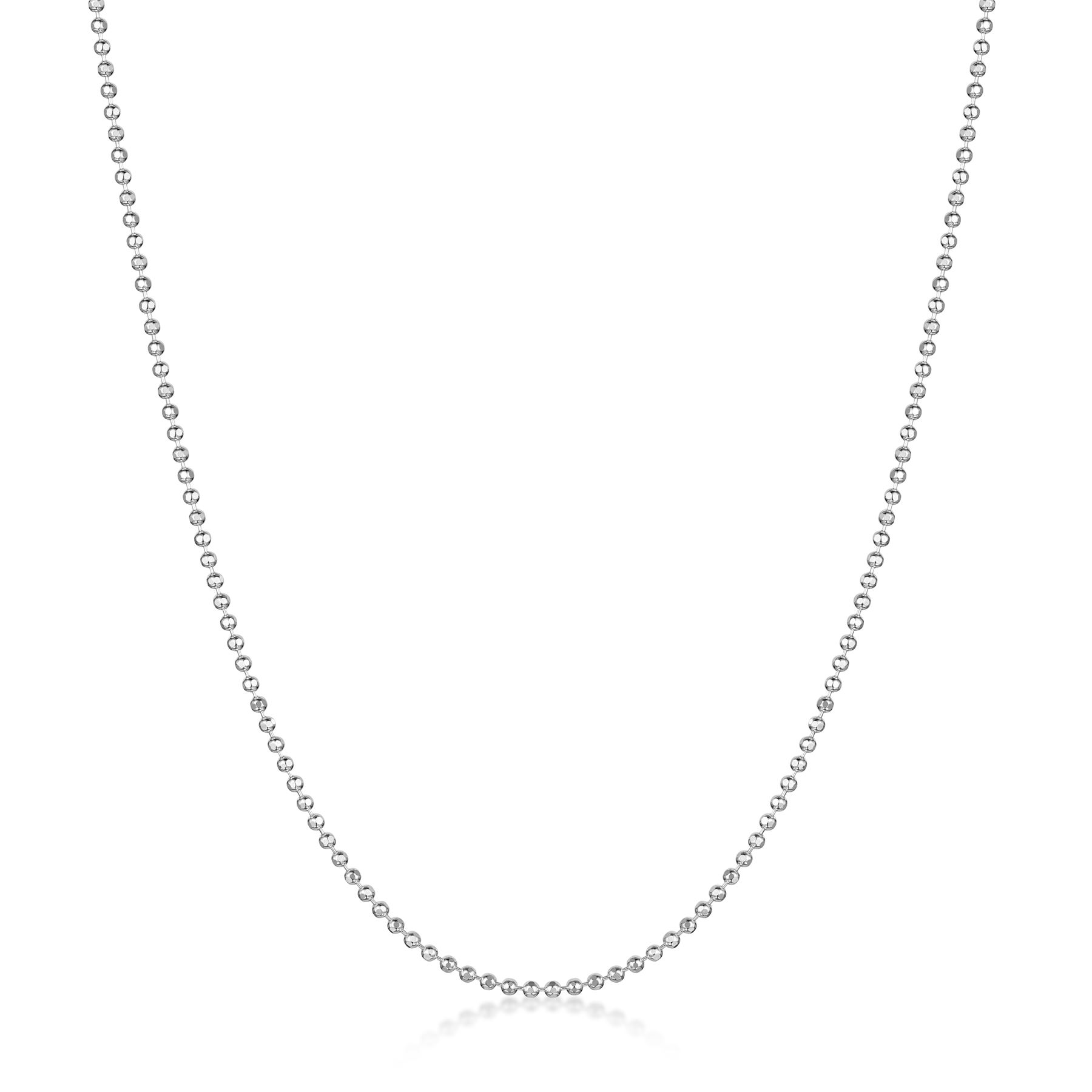 Amberta-Jewelry-Genuine-925-Sterling-Silver-Italian-Bead-Necklace-Ball-Chain thumbnail 3