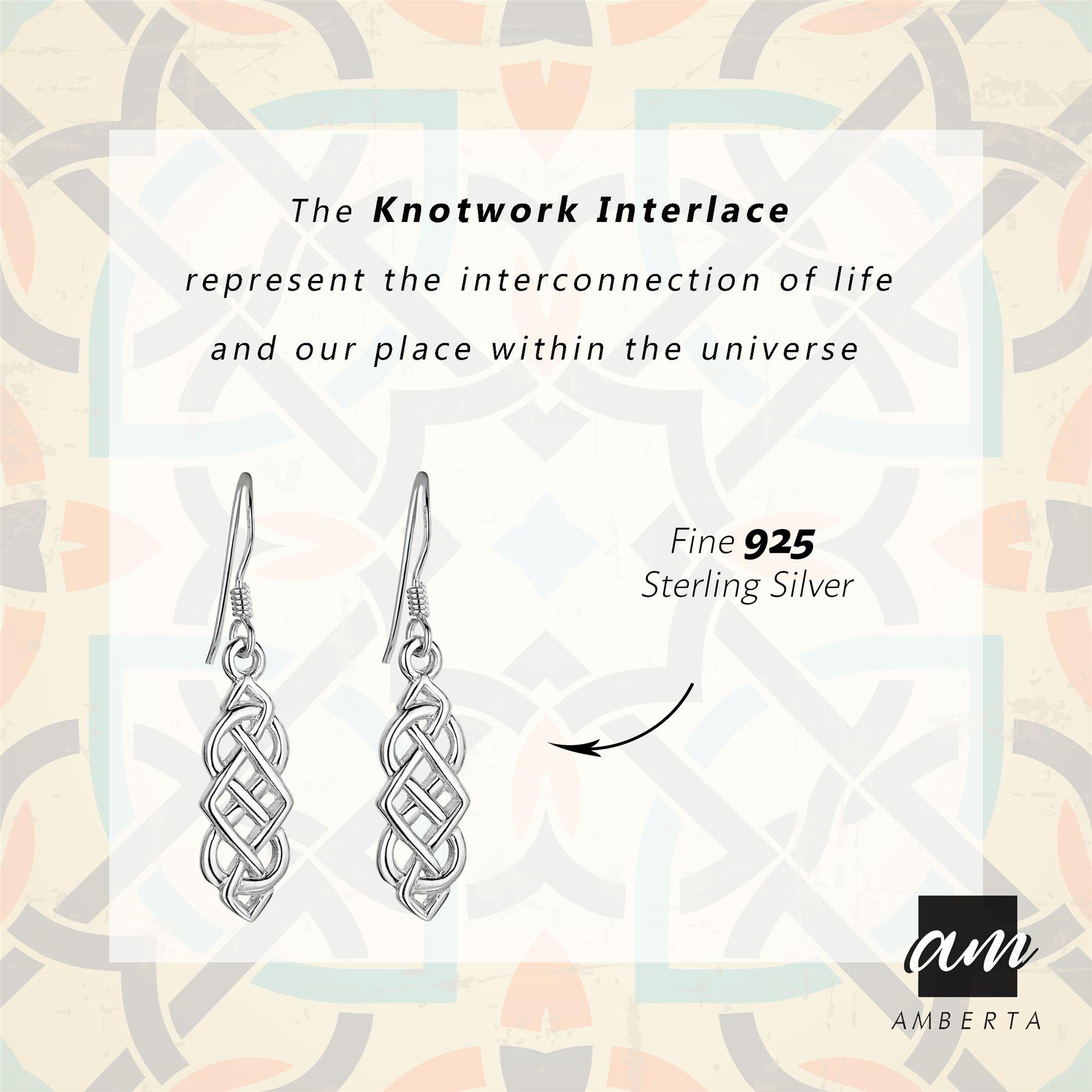 Amberta-925-Sterling-Silver-Celtic-Knot-Earrings-for-Women-Irish-Design miniature 28