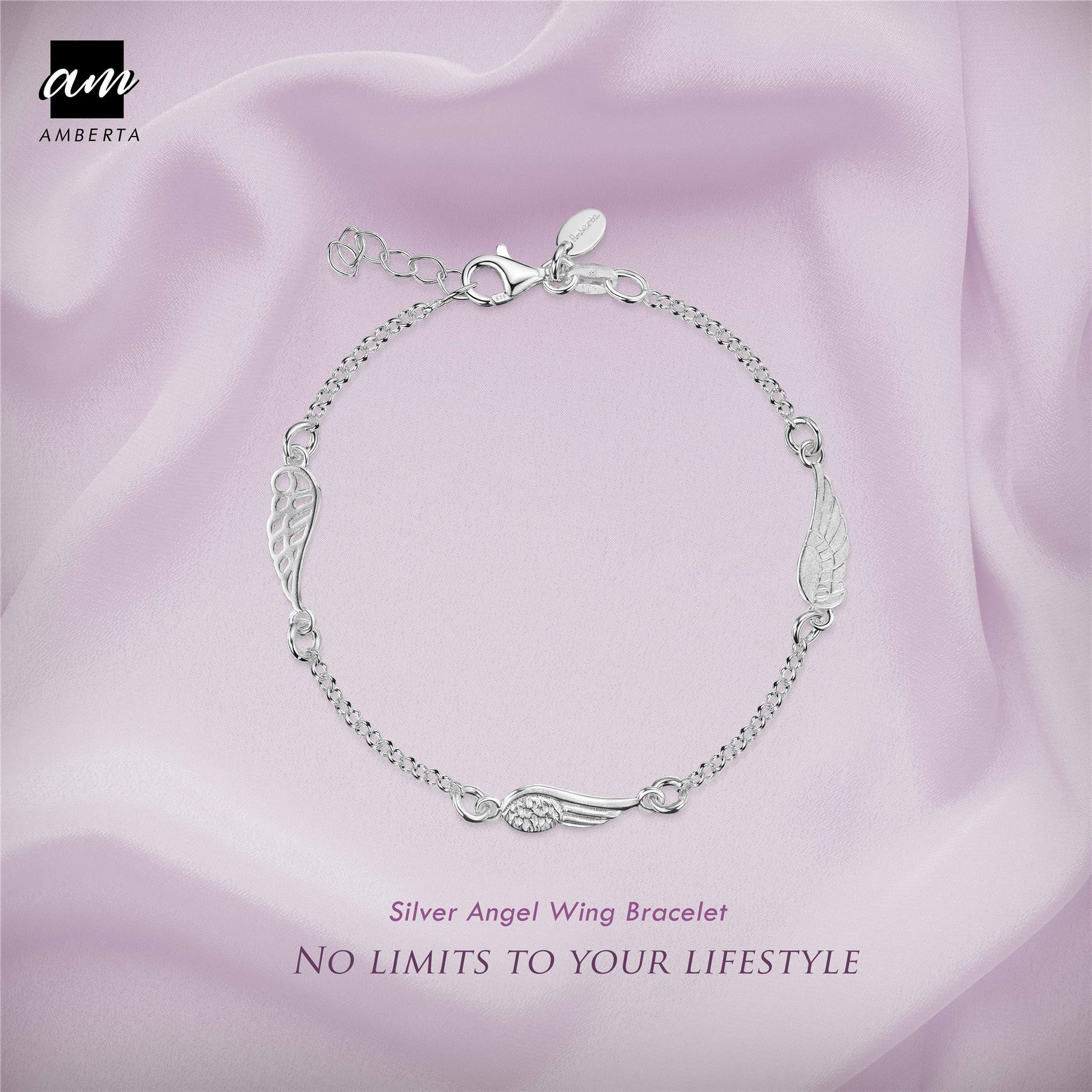 Amberta-925-Sterling-Silver-Adjustable-Rolo-Chain-Bracelet-with-Charms-for-Women miniature 6