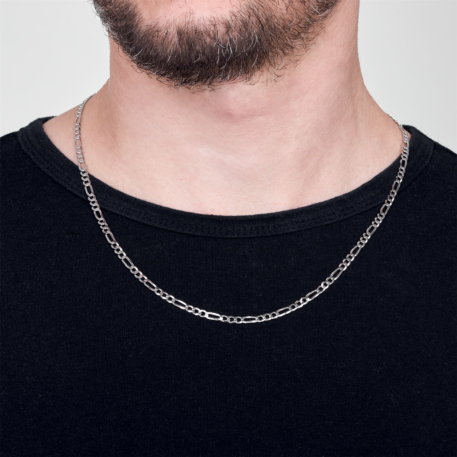 Amberta-925-Sterling-Silver-Link-Chain-Mens-Curb-Cuban-Necklace-ALL-SIZES-Italy thumbnail 32