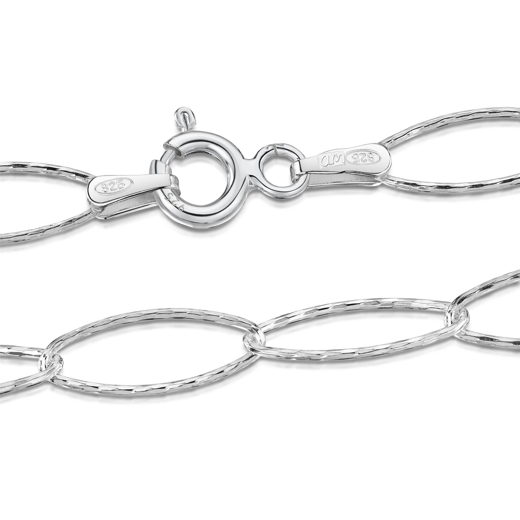 Amberta-Jewelry-Genuine-925-Sterling-Silver-Bracelet-Bangle-Chain-Made-in-Italy thumbnail 108