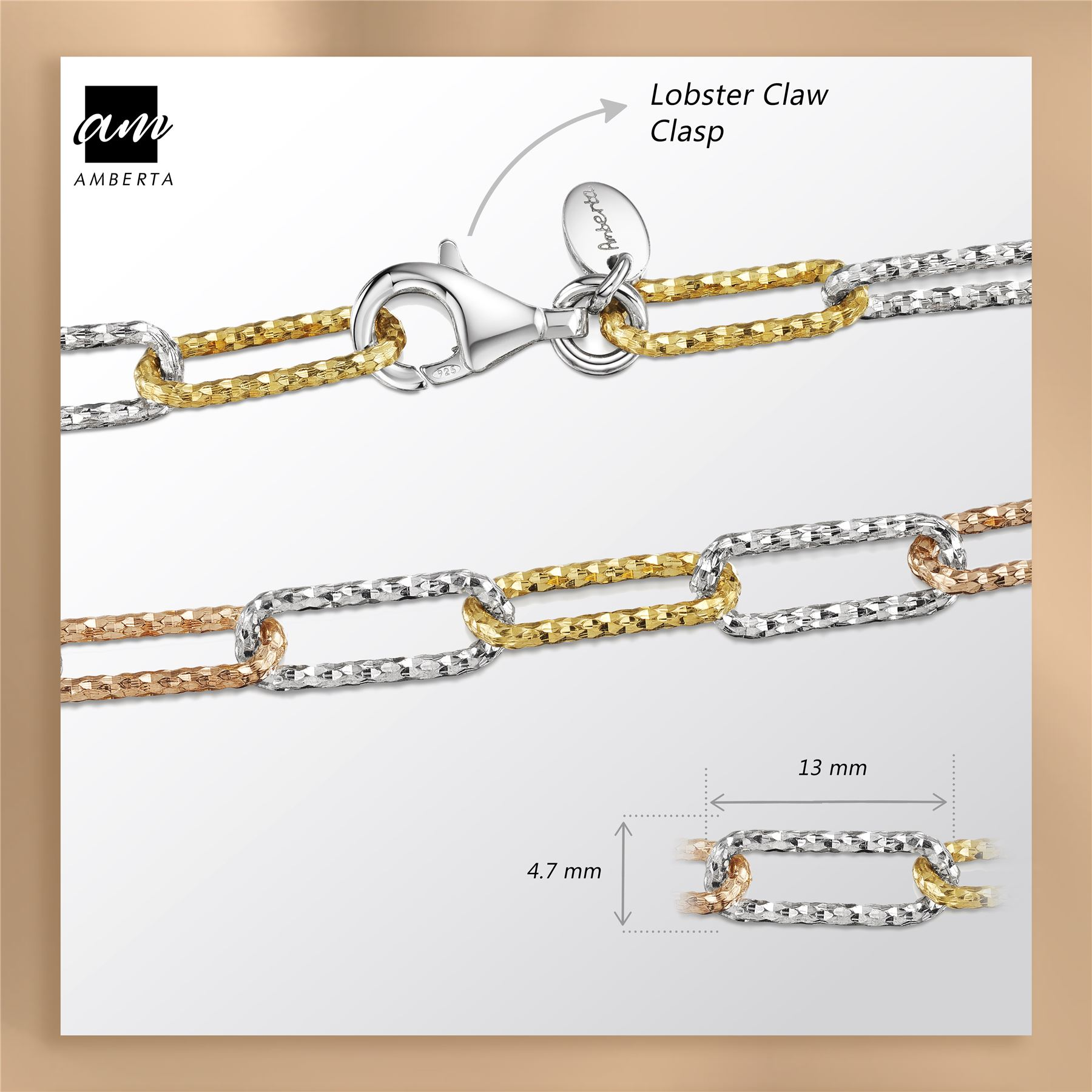 Amberta-Genuine-Real-925-Sterling-Silver-Chain-Bracelet-for-Women-from-Italy miniature 4