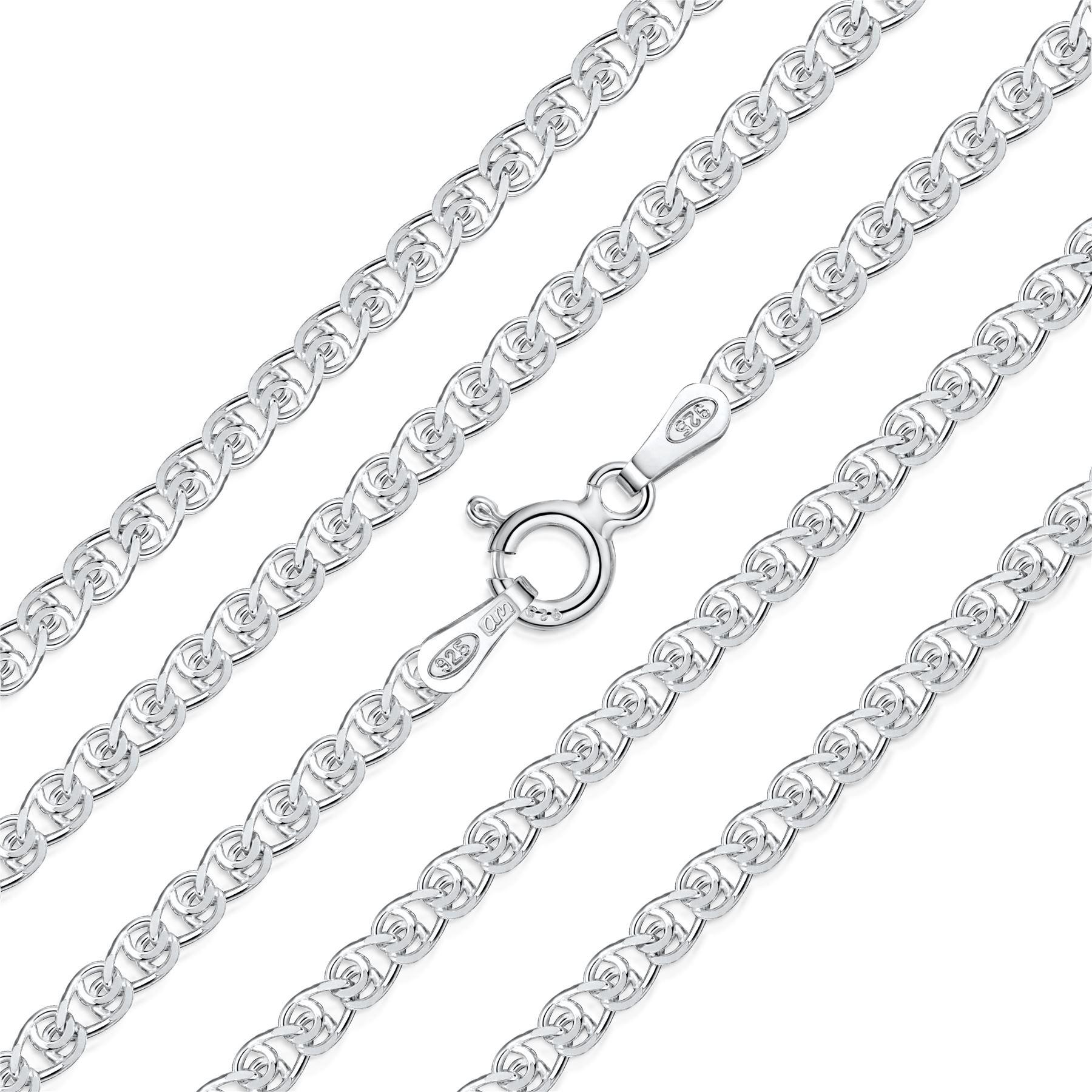 Amberta-Bijoux-Bracelet-en-Vrai-Argent-Sterling-925-Chaine-pour-Femme-a-la-Mode thumbnail 72