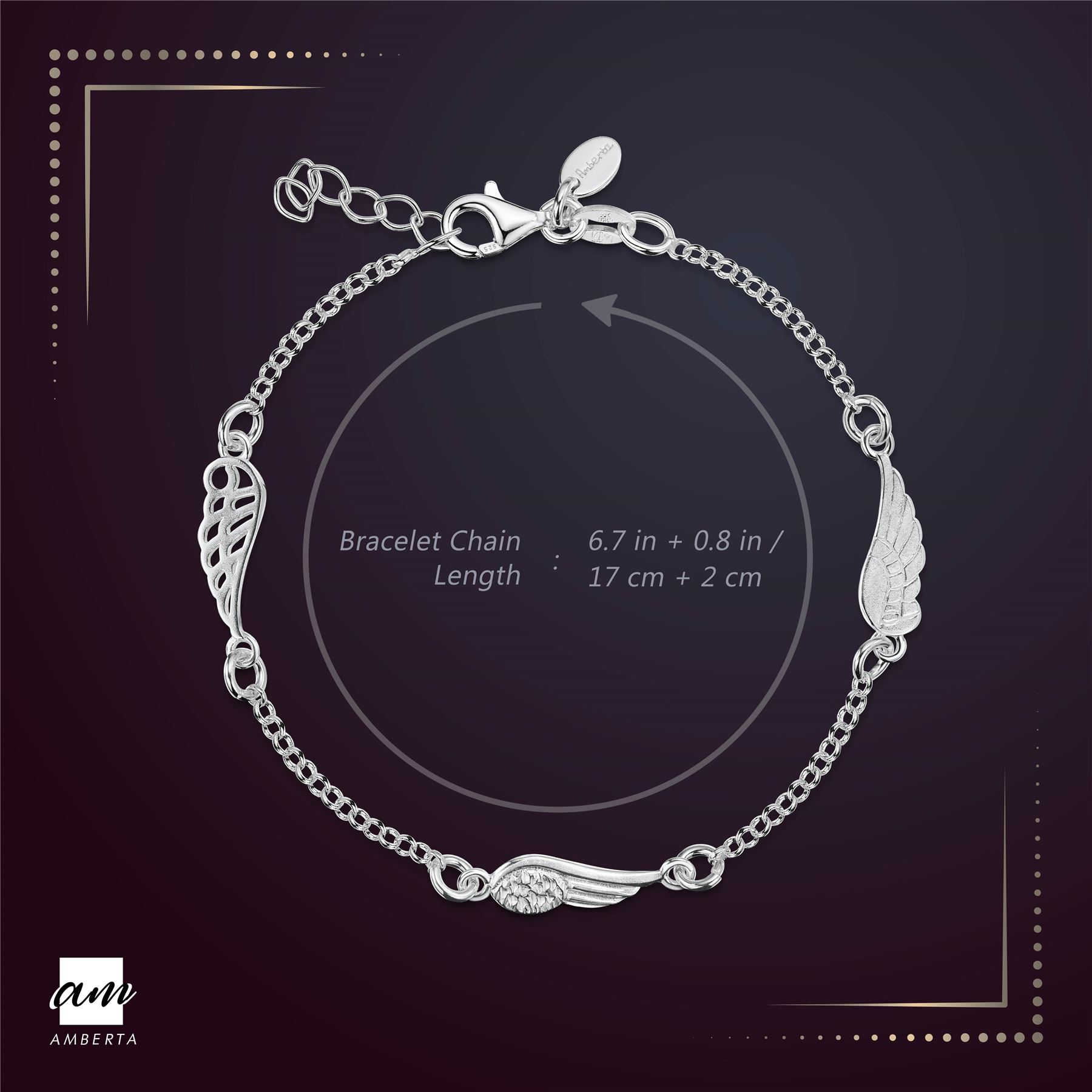 Amberta-925-Sterling-Silver-Adjustable-Rolo-Chain-Bracelet-with-Charms-for-Women miniature 3