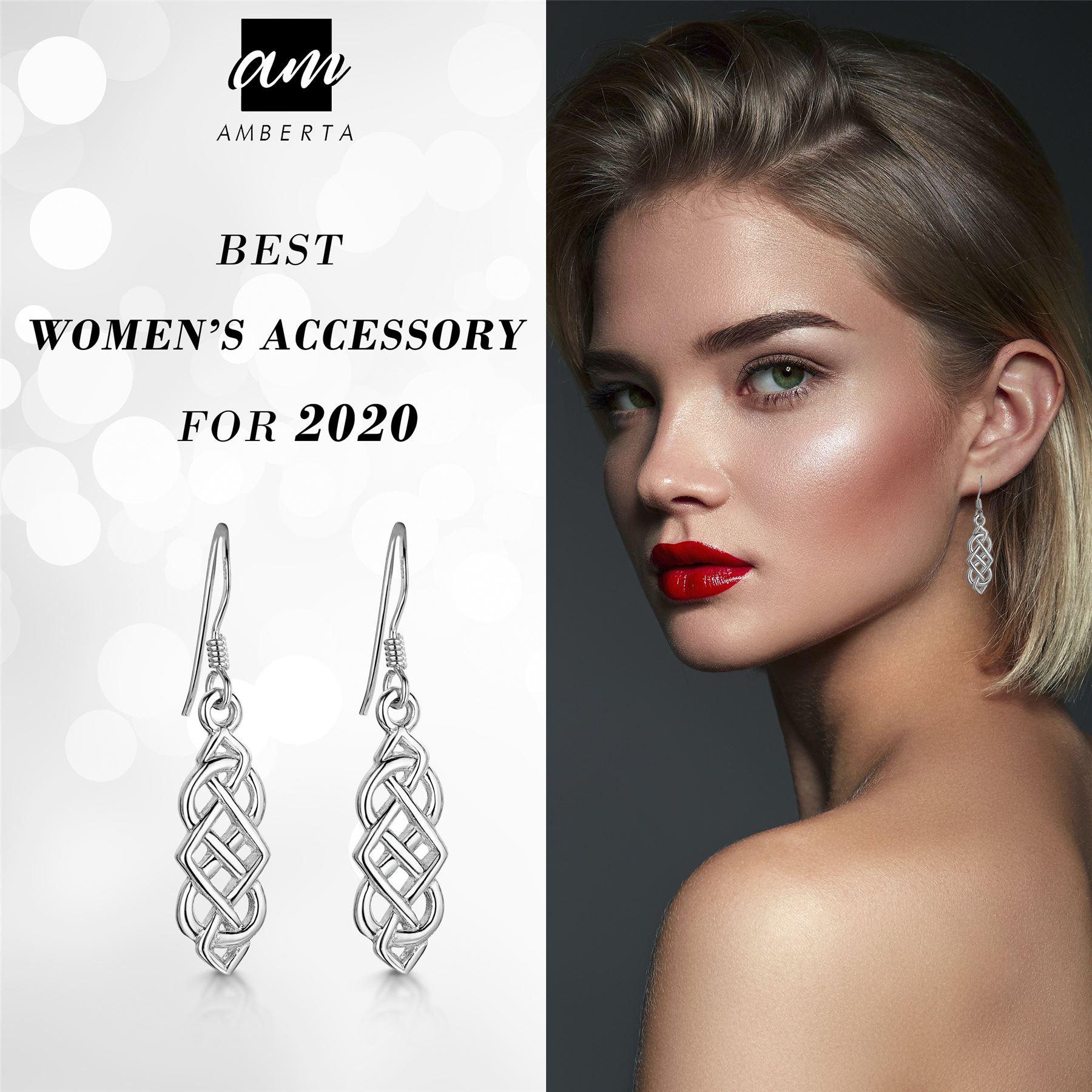 Amberta-925-Sterling-Silver-Celtic-Knot-Earrings-for-Women-Irish-Design miniature 30
