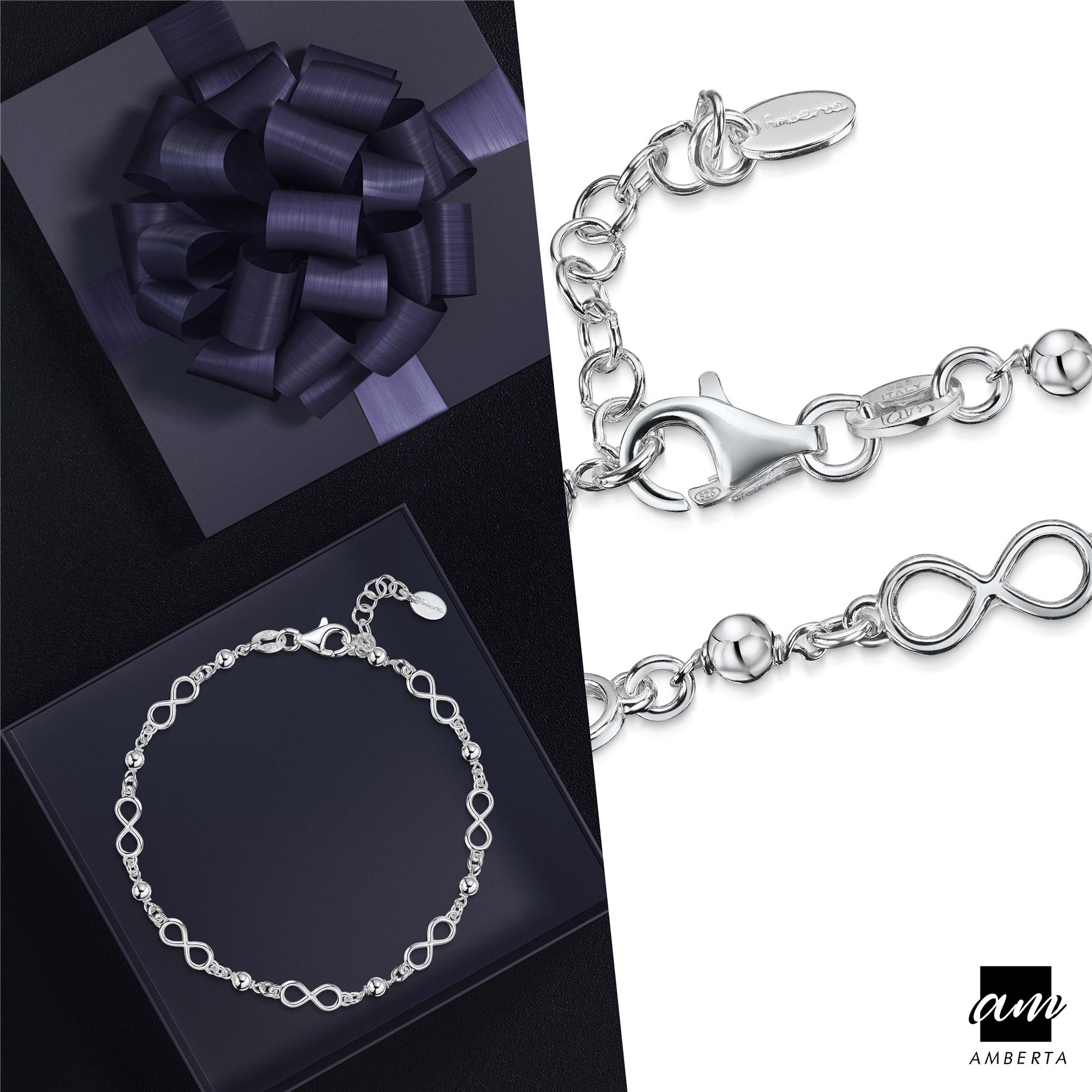 Amberta-925-Sterling-Silver-Adjustable-Rolo-Chain-Bracelet-with-Charms-for-Women miniature 14