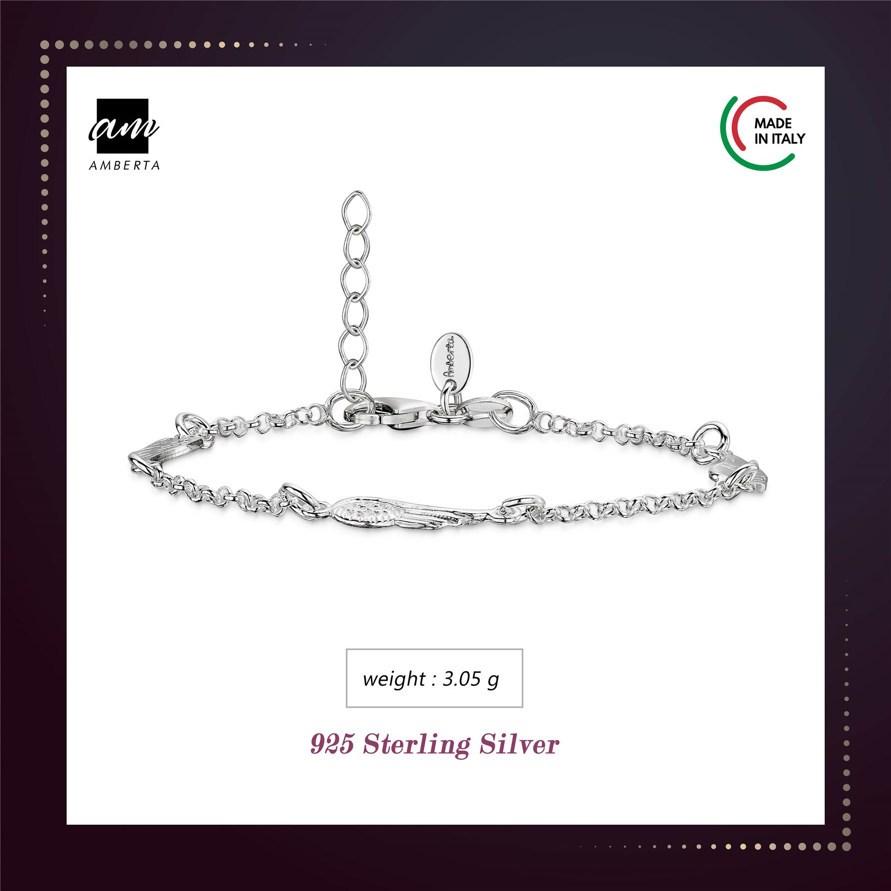 Amberta-925-Sterling-Silver-Adjustable-Rolo-Chain-Bracelet-with-Charms-for-Women miniature 5