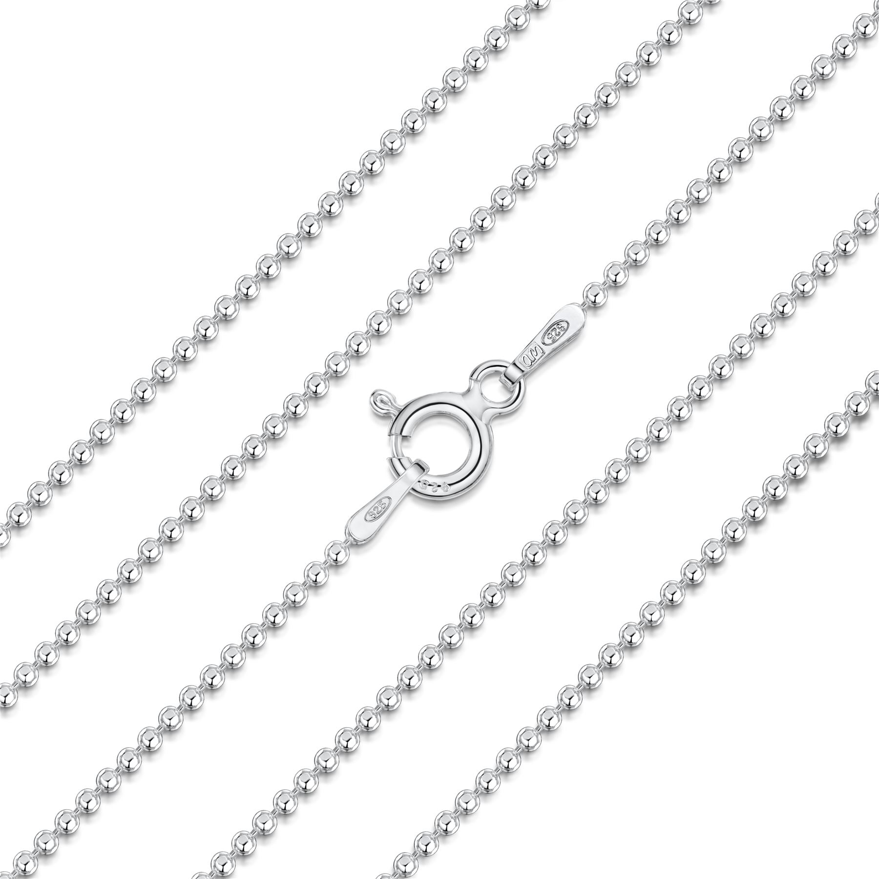 Amberta-Jewelry-Genuine-925-Sterling-Silver-Italian-Bead-Necklace-Ball-Chain thumbnail 4