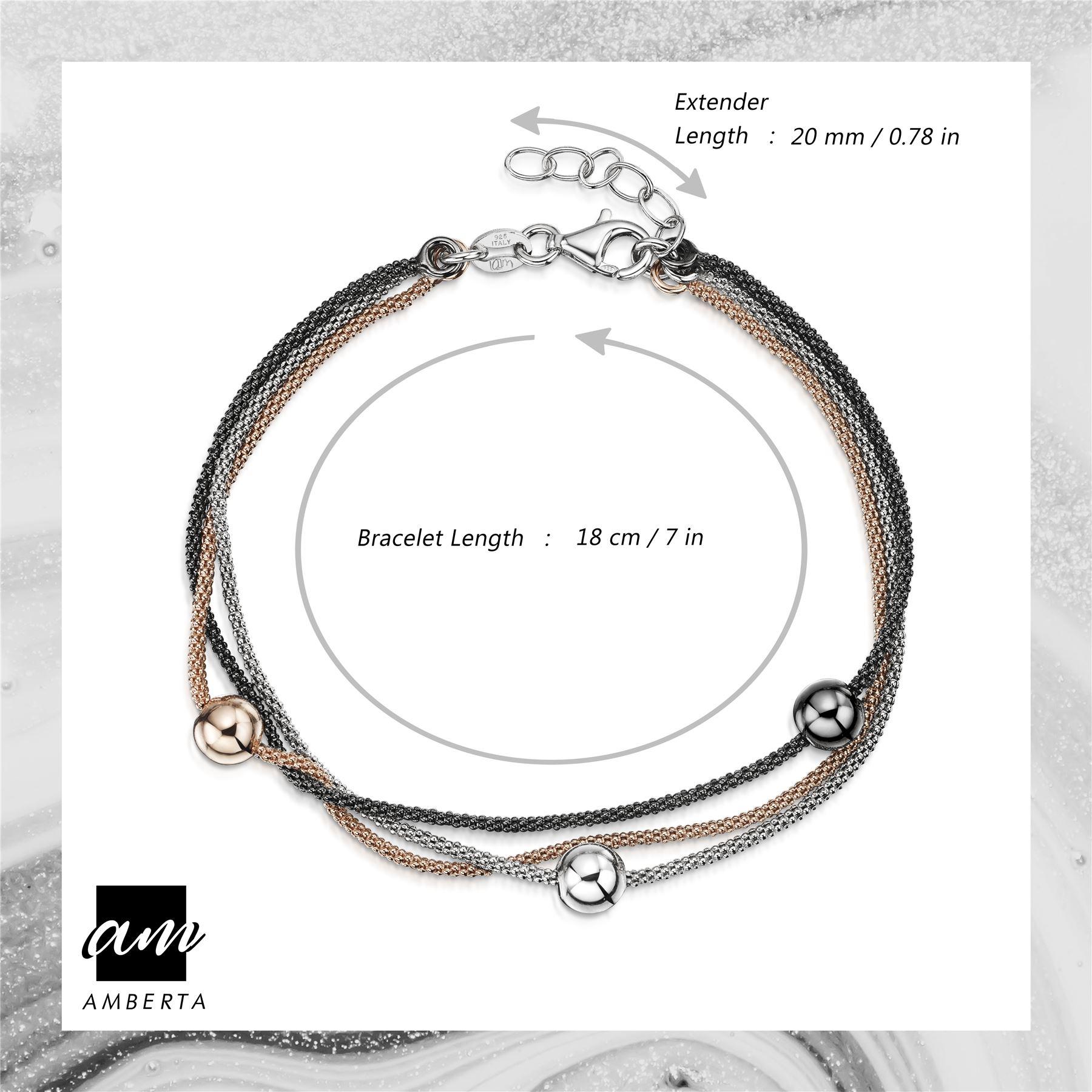 Amberta-925-Sterling-Silver-Adjustable-Multi-Layered-Chain-Bracelet-for-Women miniature 3
