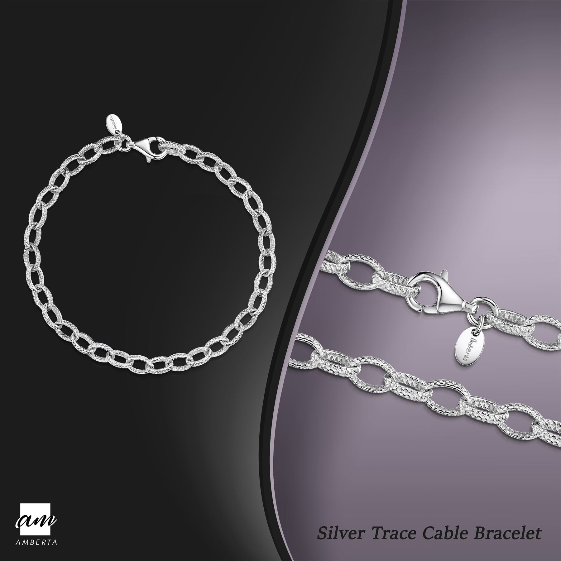 Amberta-Genuine-Real-925-Sterling-Silver-Chain-Bracelet-for-Women-from-Italy miniature 32