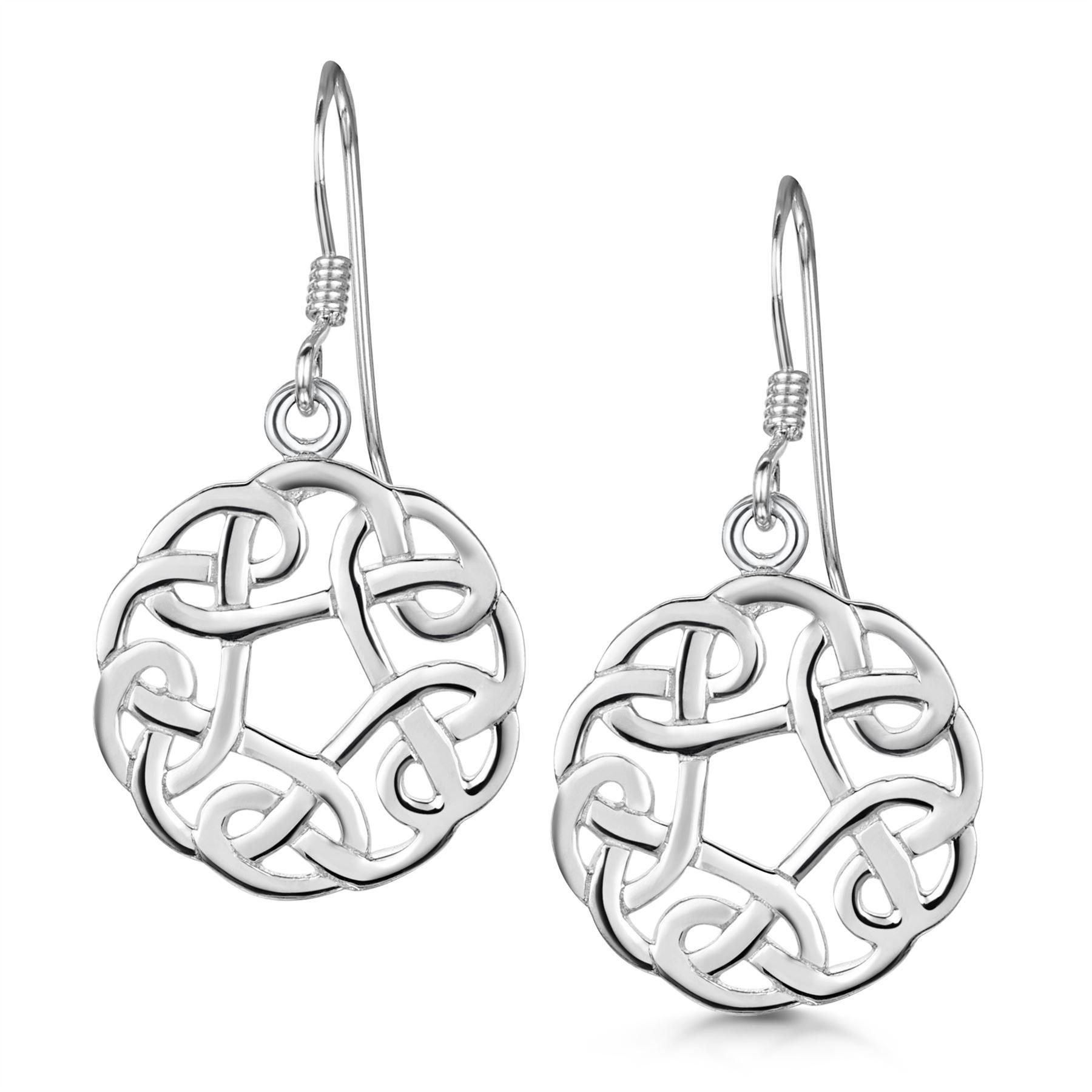 Amberta-925-Sterling-Silver-Celtic-Knot-Earrings-for-Women-Irish-Design miniature 20