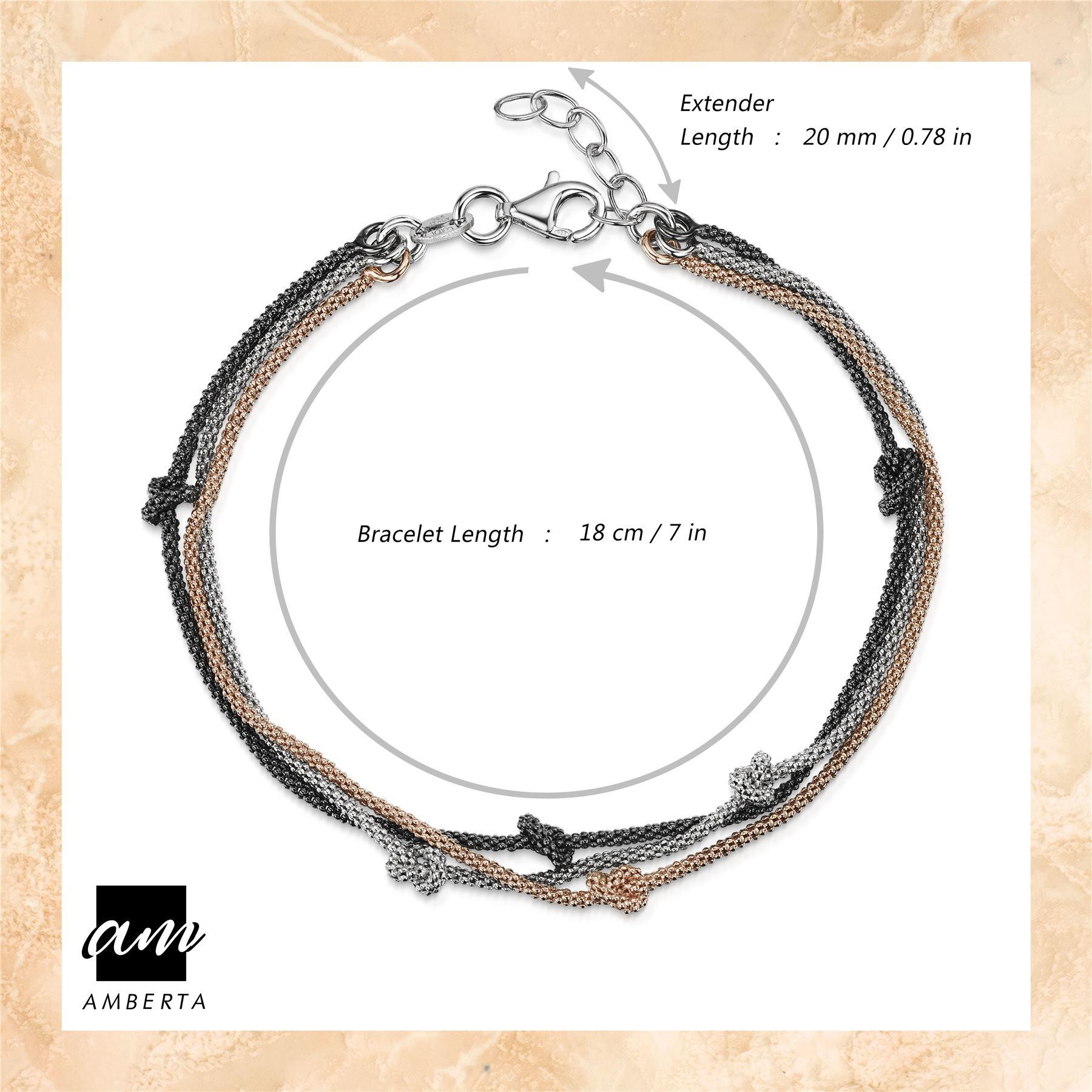 Amberta-925-Sterling-Silver-Adjustable-Multi-Layered-Chain-Bracelet-for-Women miniature 8