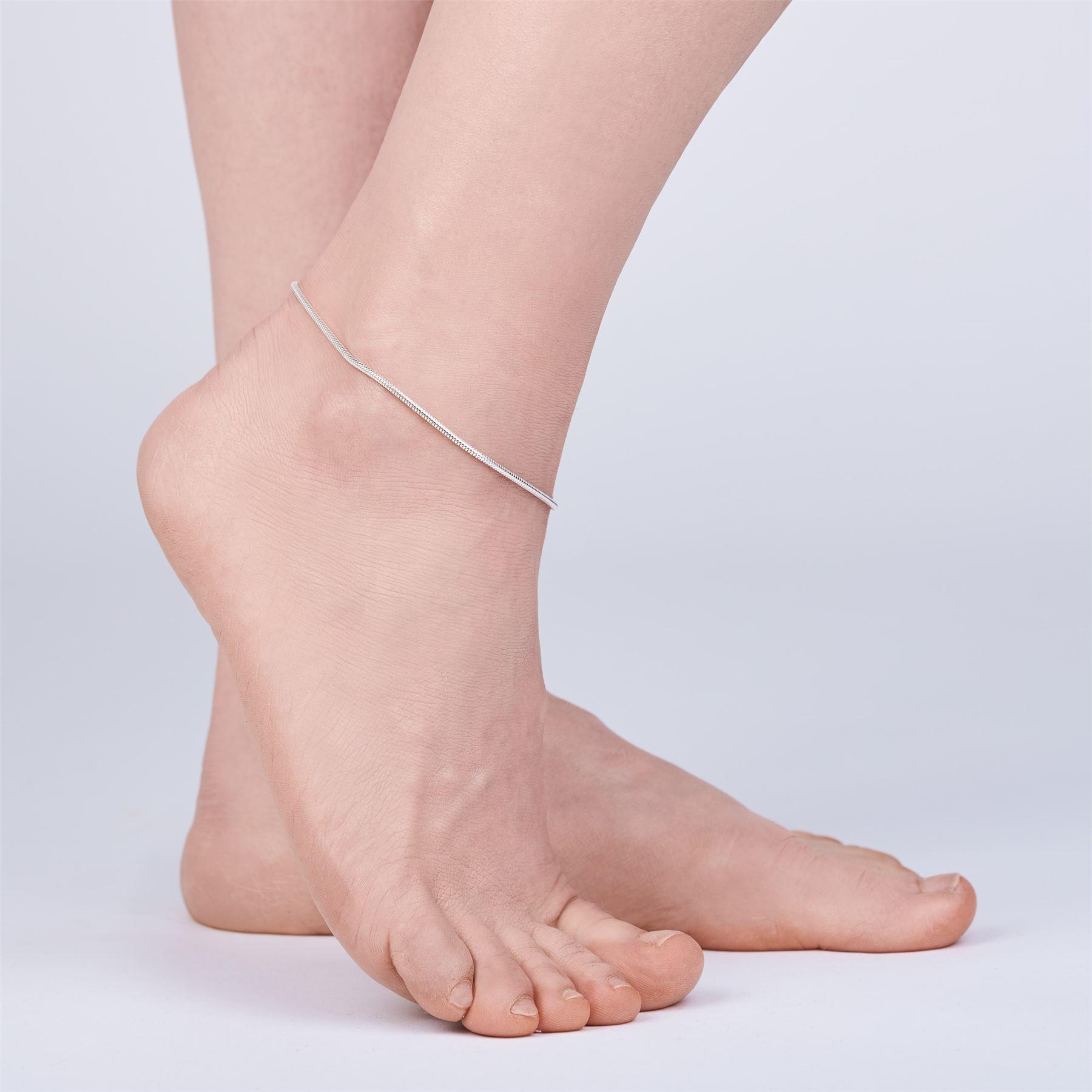 Amberta-Jewelry-925-Sterling-Silver-Adjustable-Anklet-Foot-Bracelet-for-Women miniature 30