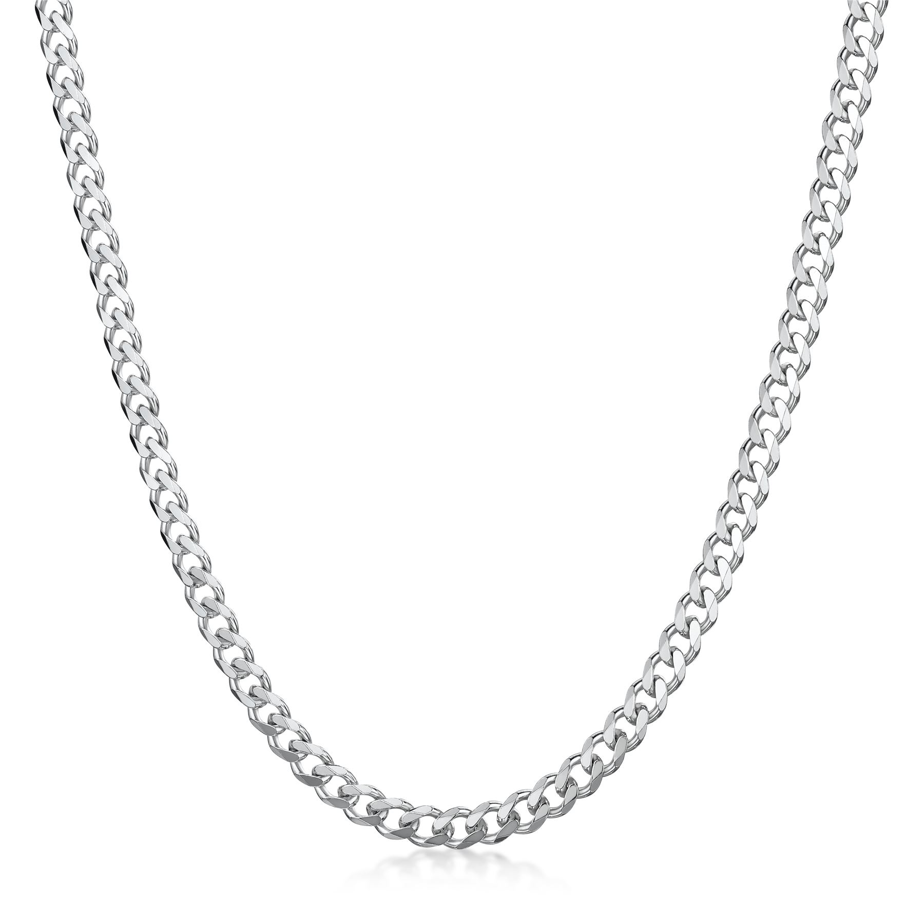 Amberta-925-Sterling-Silver-Link-Chain-Mens-Curb-Cuban-Necklace-ALL-SIZES-Italy thumbnail 21
