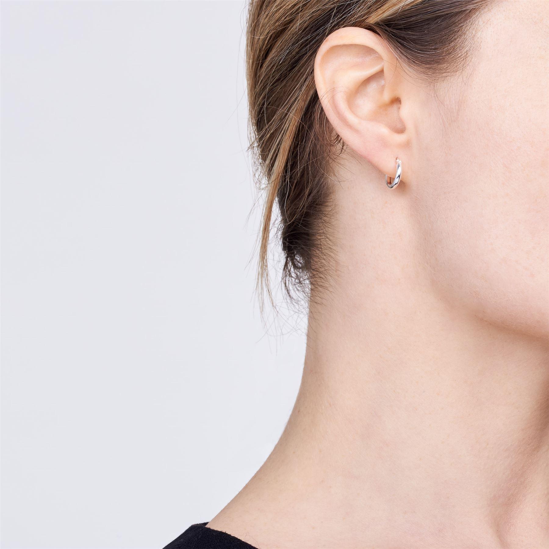 Amberta-Pendientes-para-Mujer-Aros-en-Plata-De-Ley-925-Autentica-Estilo-Clasico miniatura 3