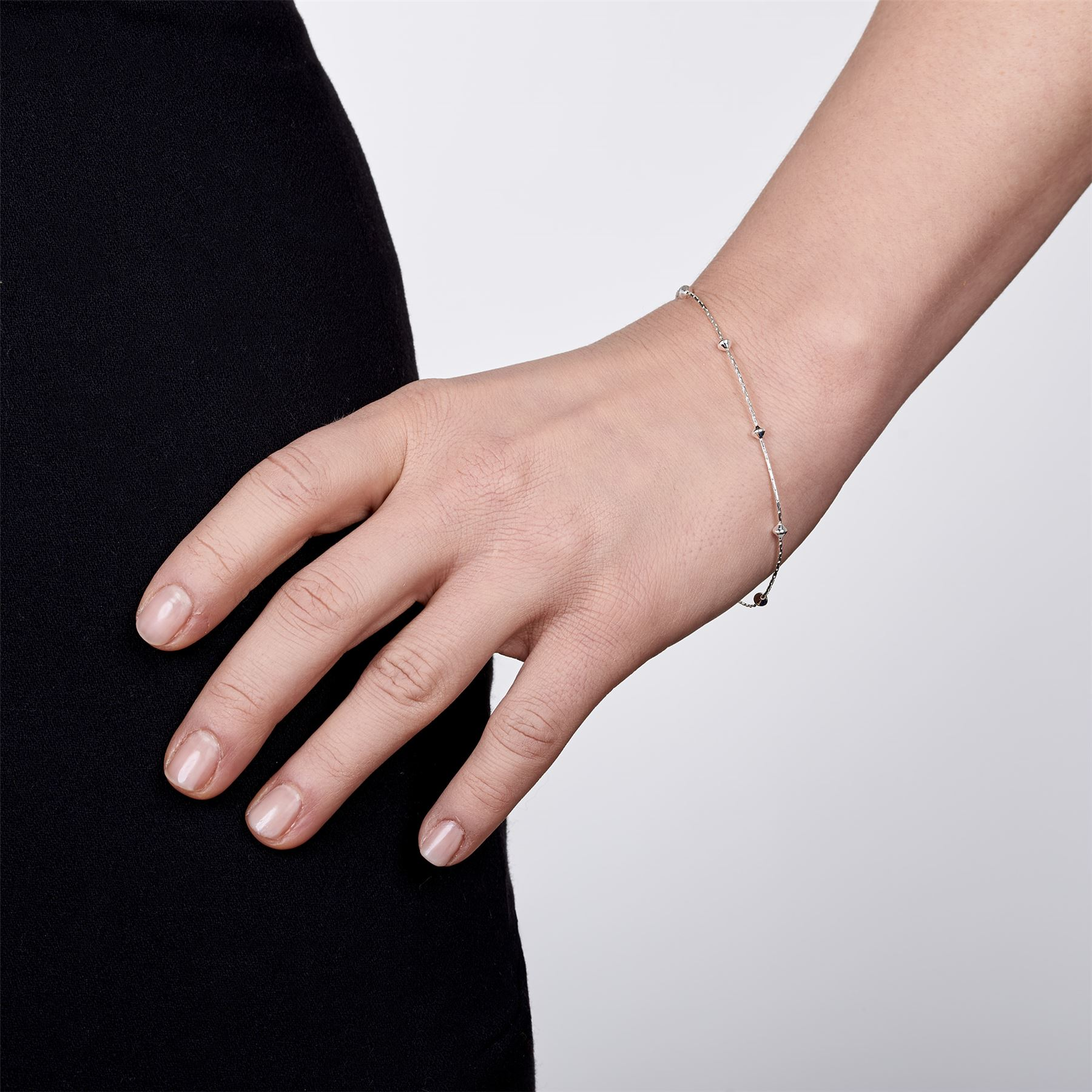 Amberta-Bijoux-Bracelet-en-Vrai-Argent-Sterling-925-Chaine-pour-Femme-a-la-Mode thumbnail 5