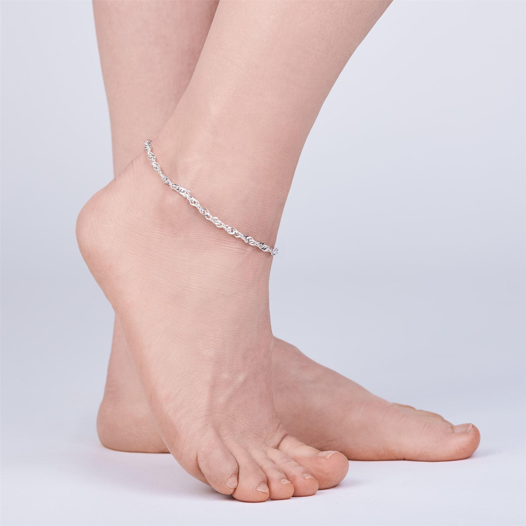 Amberta-Jewelry-925-Sterling-Silver-Adjustable-Anklet-Foot-Bracelet-for-Women miniature 49