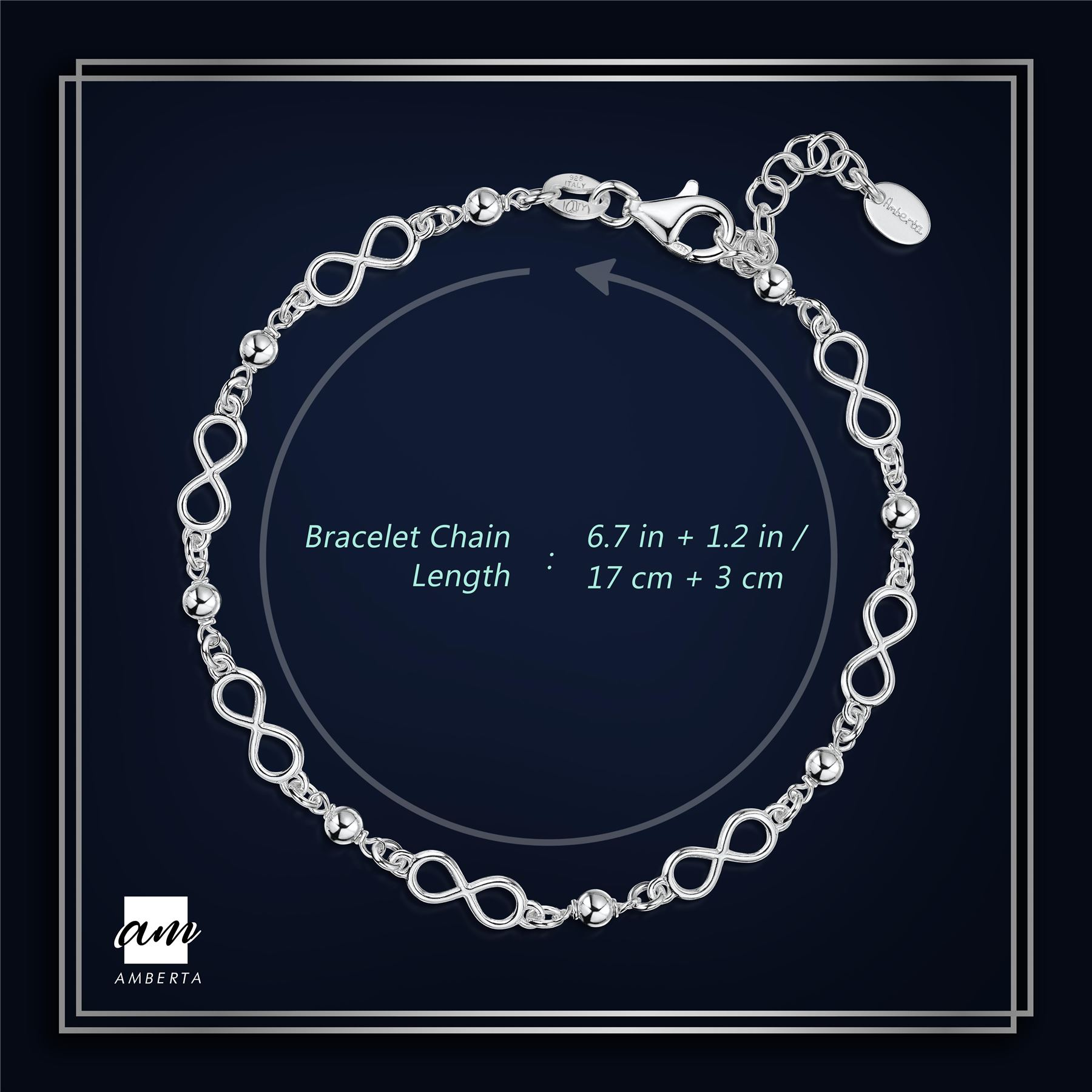 Amberta-925-Sterling-Silver-Adjustable-Rolo-Chain-Bracelet-with-Charms-for-Women miniature 10