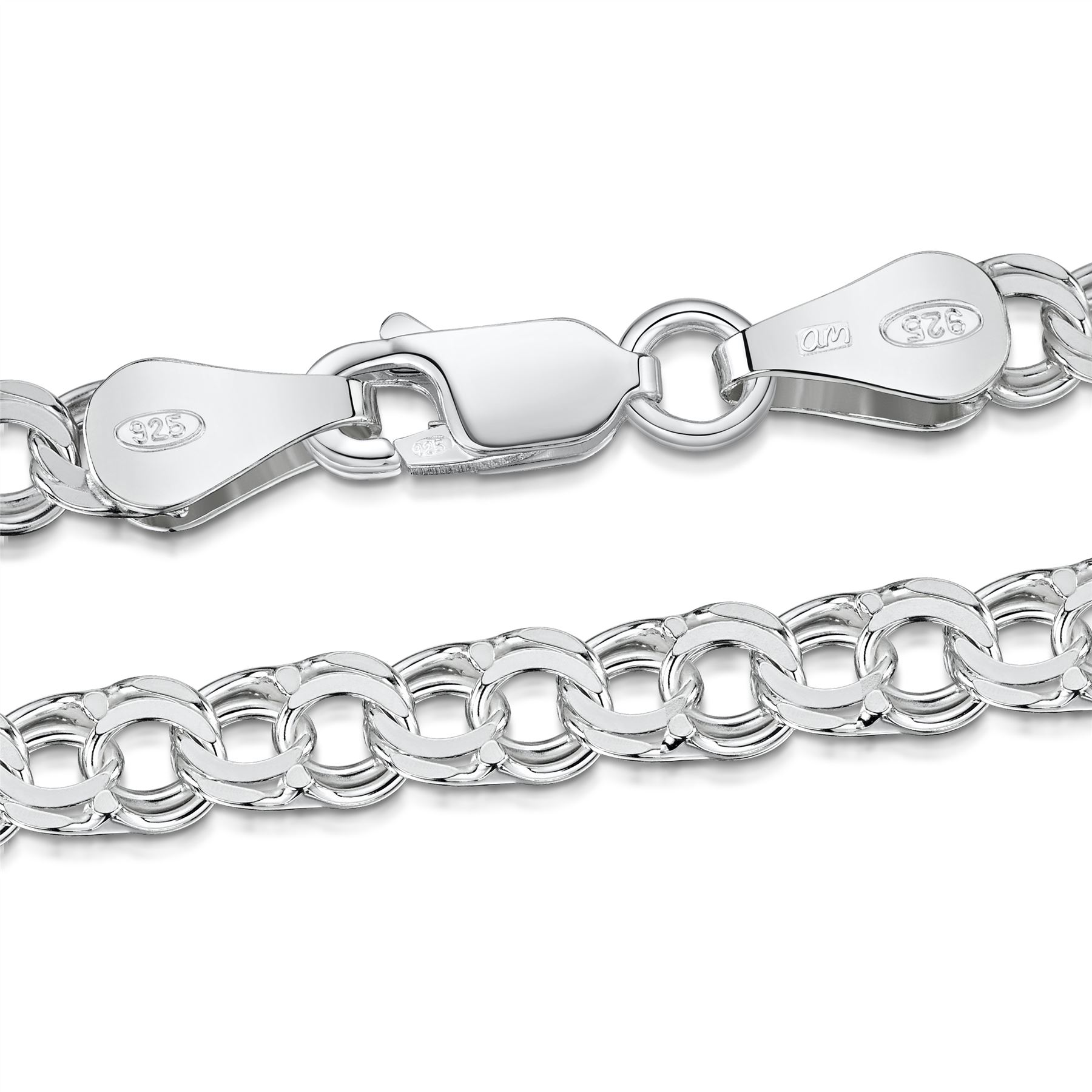 Amberta-Bijoux-Bracelet-en-Vrai-Argent-Sterling-925-Chaine-pour-Femme-a-la-Mode thumbnail 91