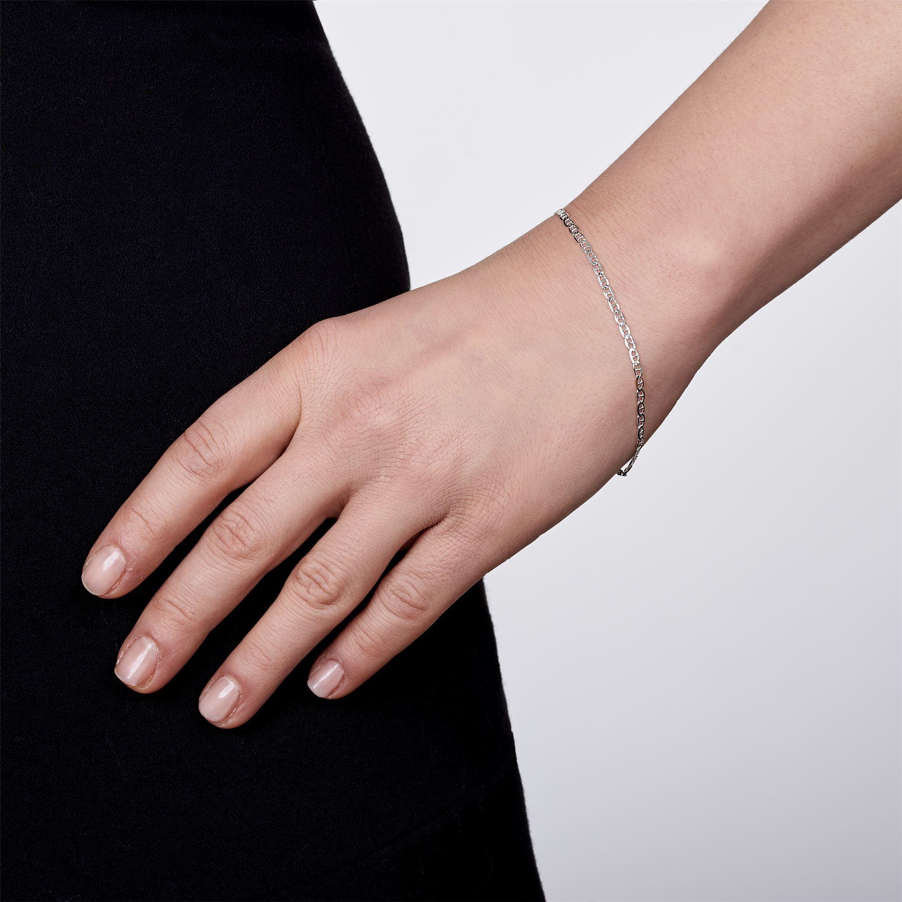 Amberta-Bijoux-Bracelet-en-Vrai-Argent-Sterling-925-Chaine-pour-Femme-a-la-Mode thumbnail 66