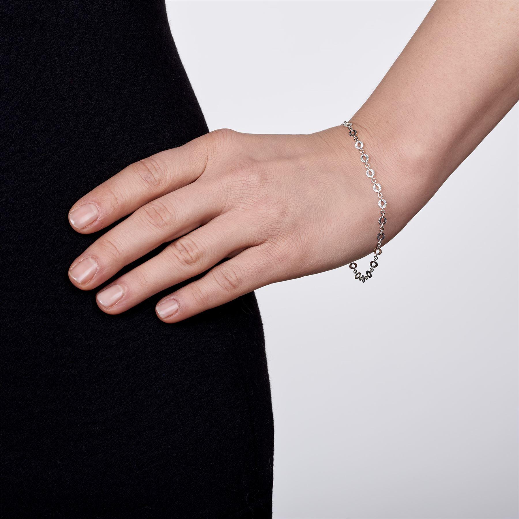 Amberta-Bijoux-Bracelet-en-Vrai-Argent-Sterling-925-Chaine-pour-Femme-a-la-Mode thumbnail 25