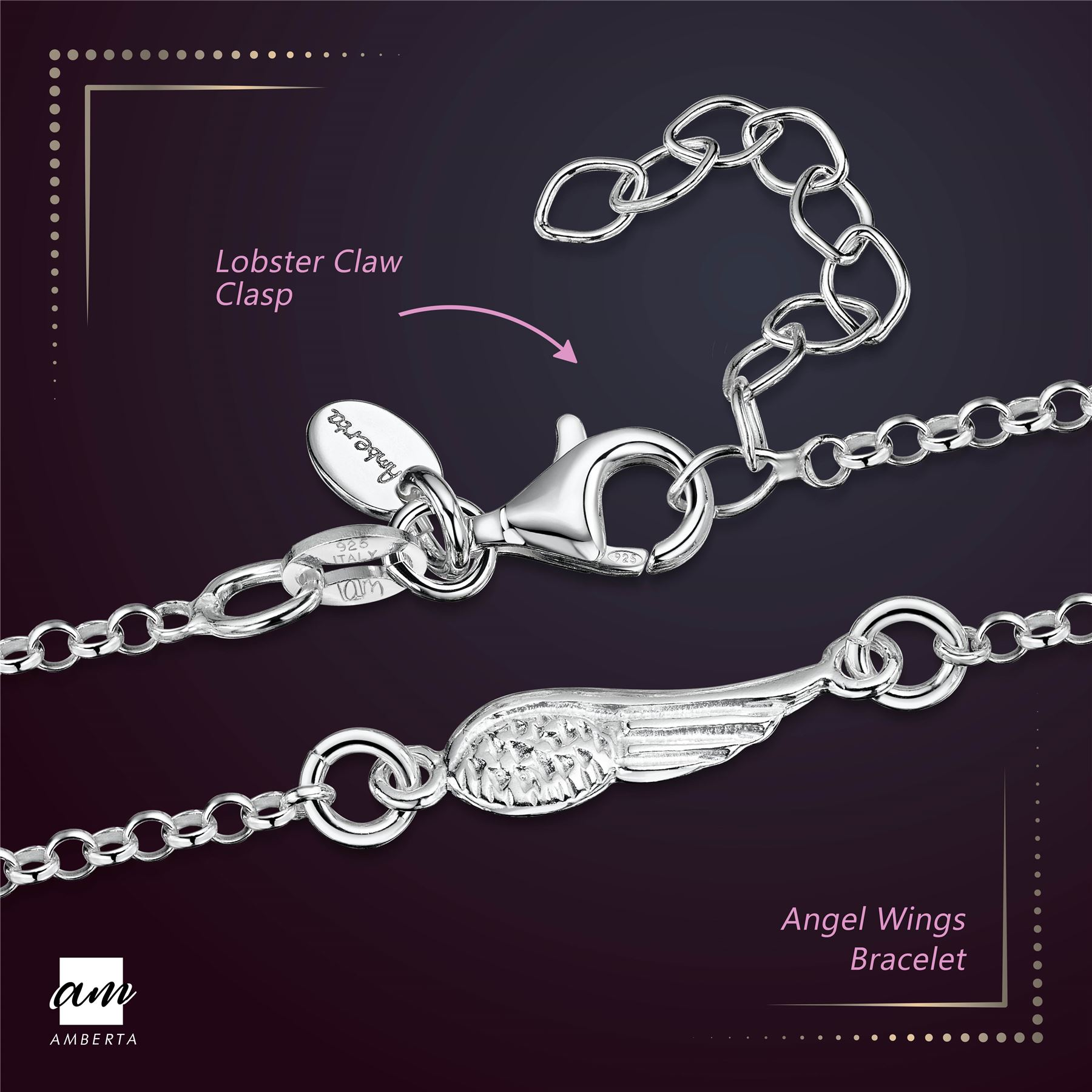 Amberta-925-Sterling-Silver-Adjustable-Rolo-Chain-Bracelet-with-Charms-for-Women miniature 4