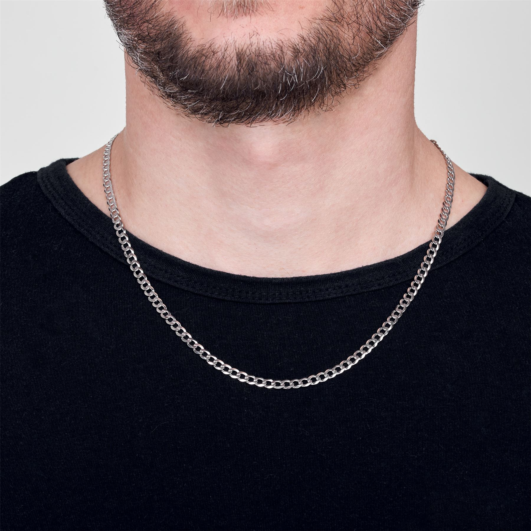 Amberta-925-Sterling-Silver-Link-Chain-Mens-Curb-Cuban-Necklace-ALL-SIZES-Italy thumbnail 27