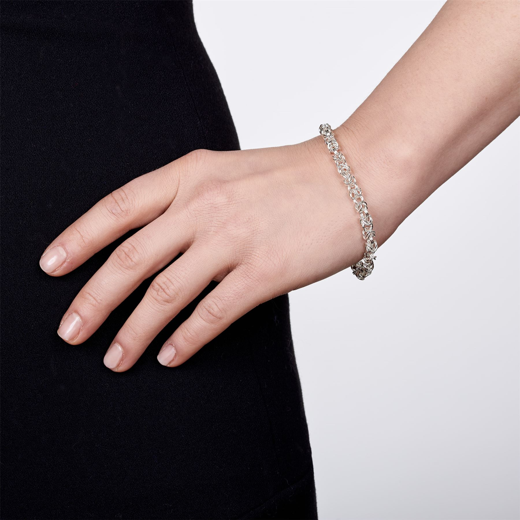 Amberta-Genuine-Real-925-Sterling-Silver-Chain-Bracelet-for-Women-from-Italy miniature 26
