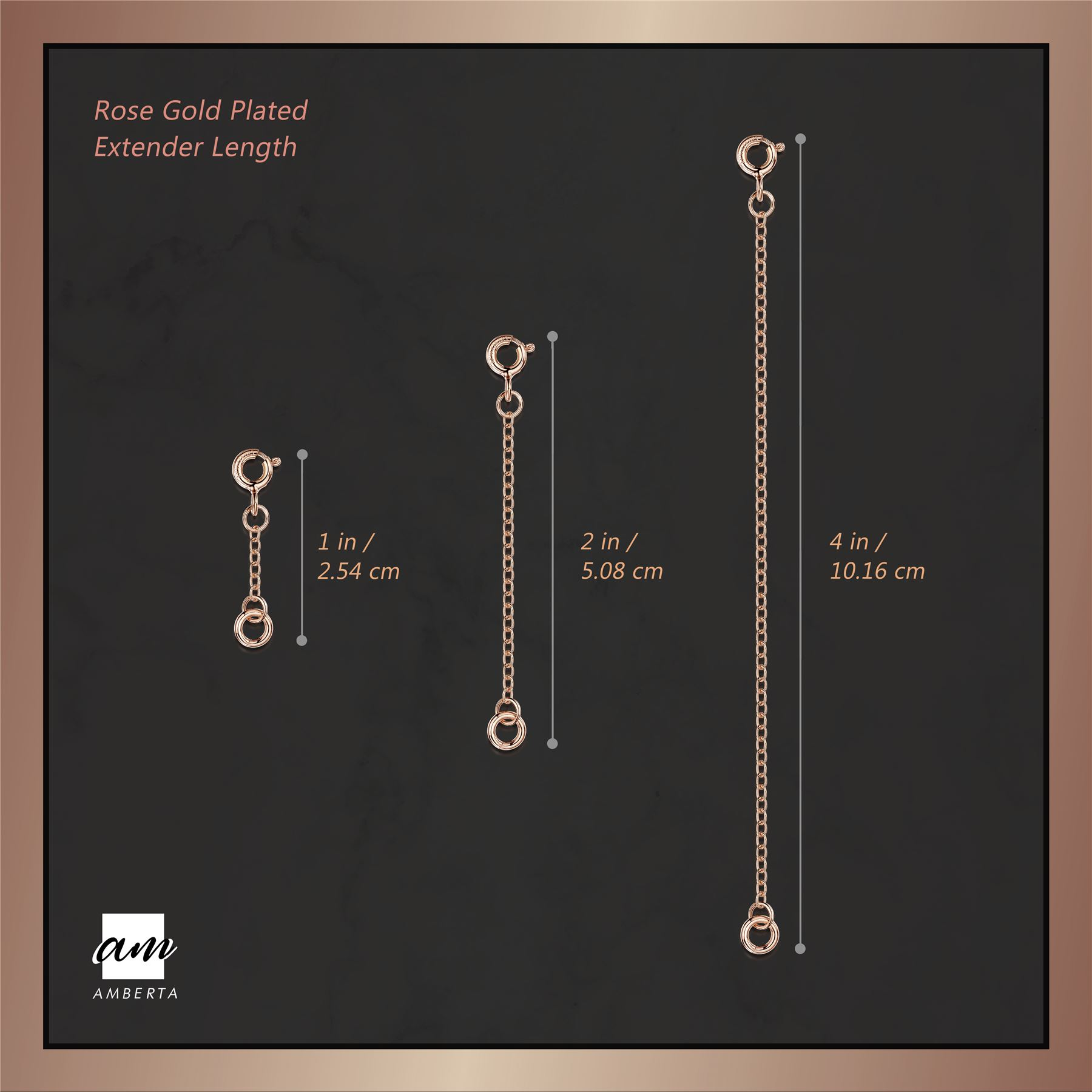 Amberta-925-Sterling-Silver-2-mm-Curb-Chain-Extender-Set-for-Women-Various-Types miniature 3