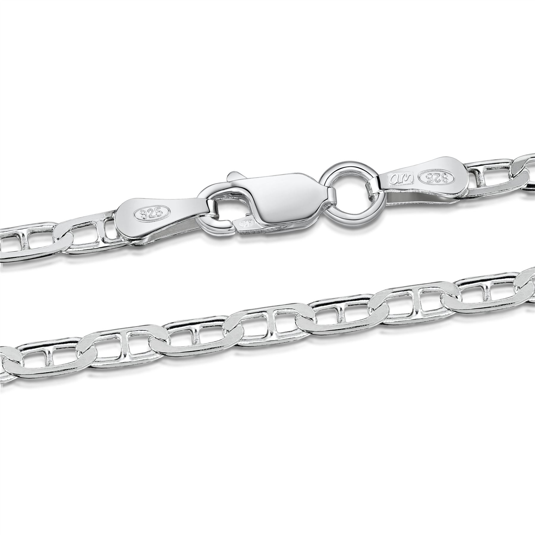 Amberta-Genuine-Real-925-Sterling-Silver-Bracelet-Bangle-Chain-Made-in-Italy thumbnail 33